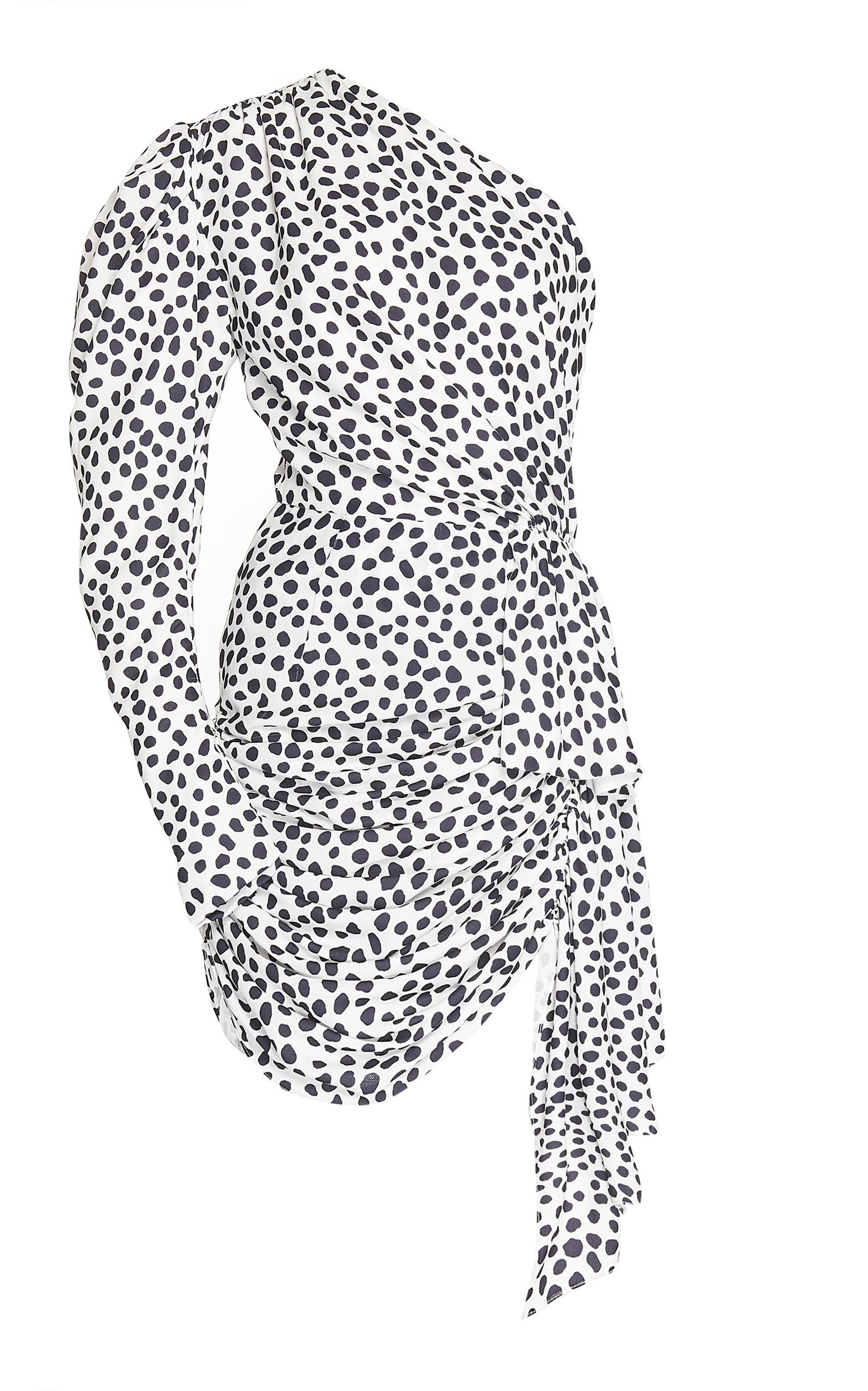 ee89558d12c66 One-Shoulder Puff Sleeve Crepe Mini Dress by 16Arlington
