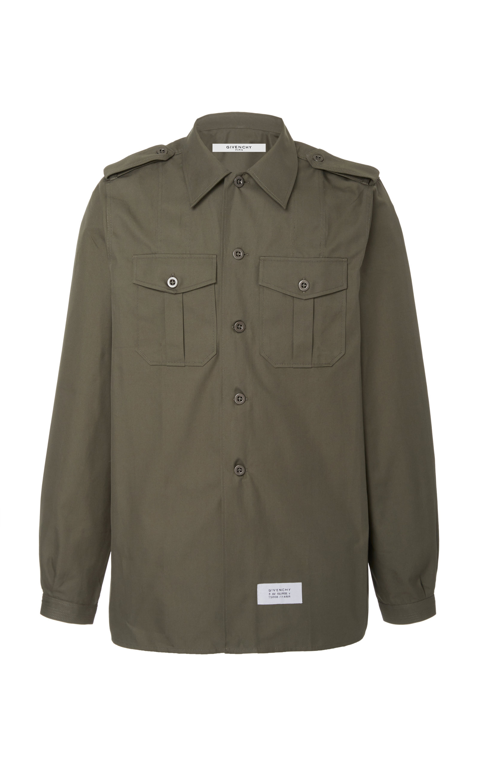Givenchy T-shirts Cotton And Linen Twill Military Shirt