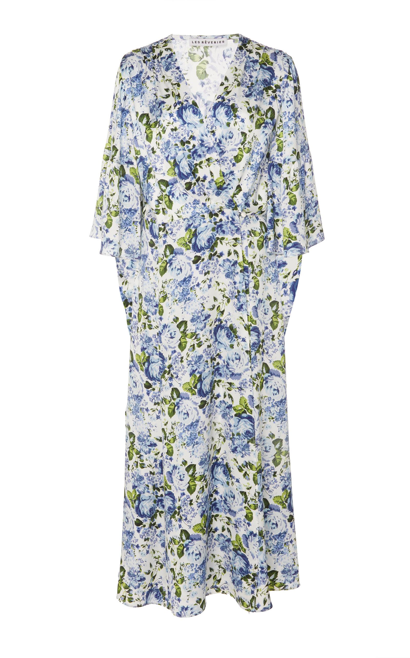 LES RÊVERIES Flutter-Sleeve Floral Silk Wrap Dress