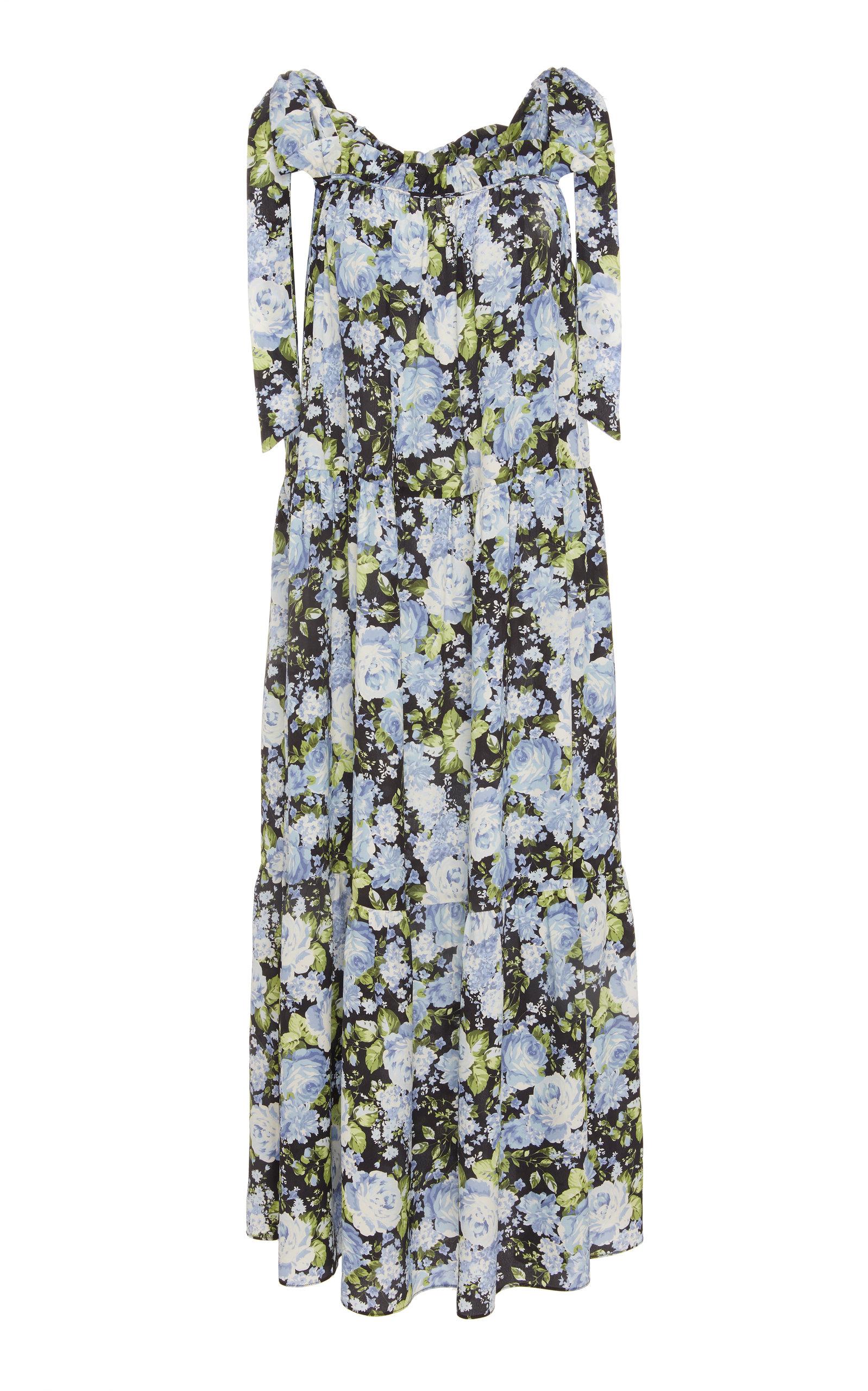 LES RÊVERIES Tie-Strap Tiered Crepe De Chine Floral Dress in Black