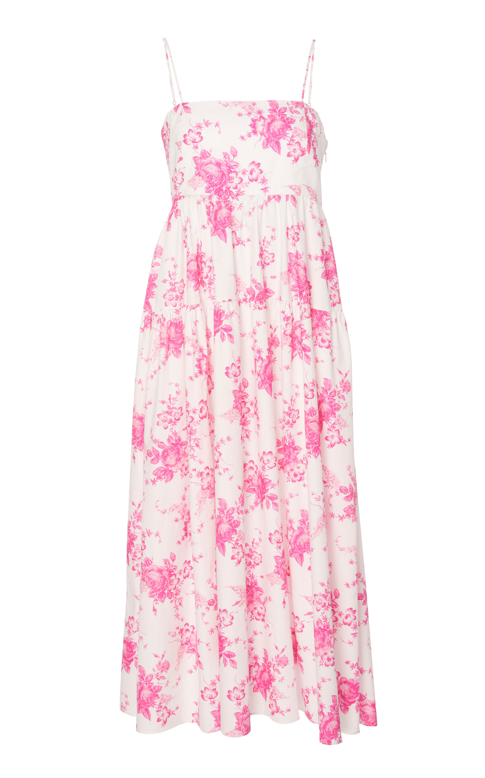 LES RÊVERIES Floral-Print Tiered Sleeveless Poplin Midi Dress in Pink