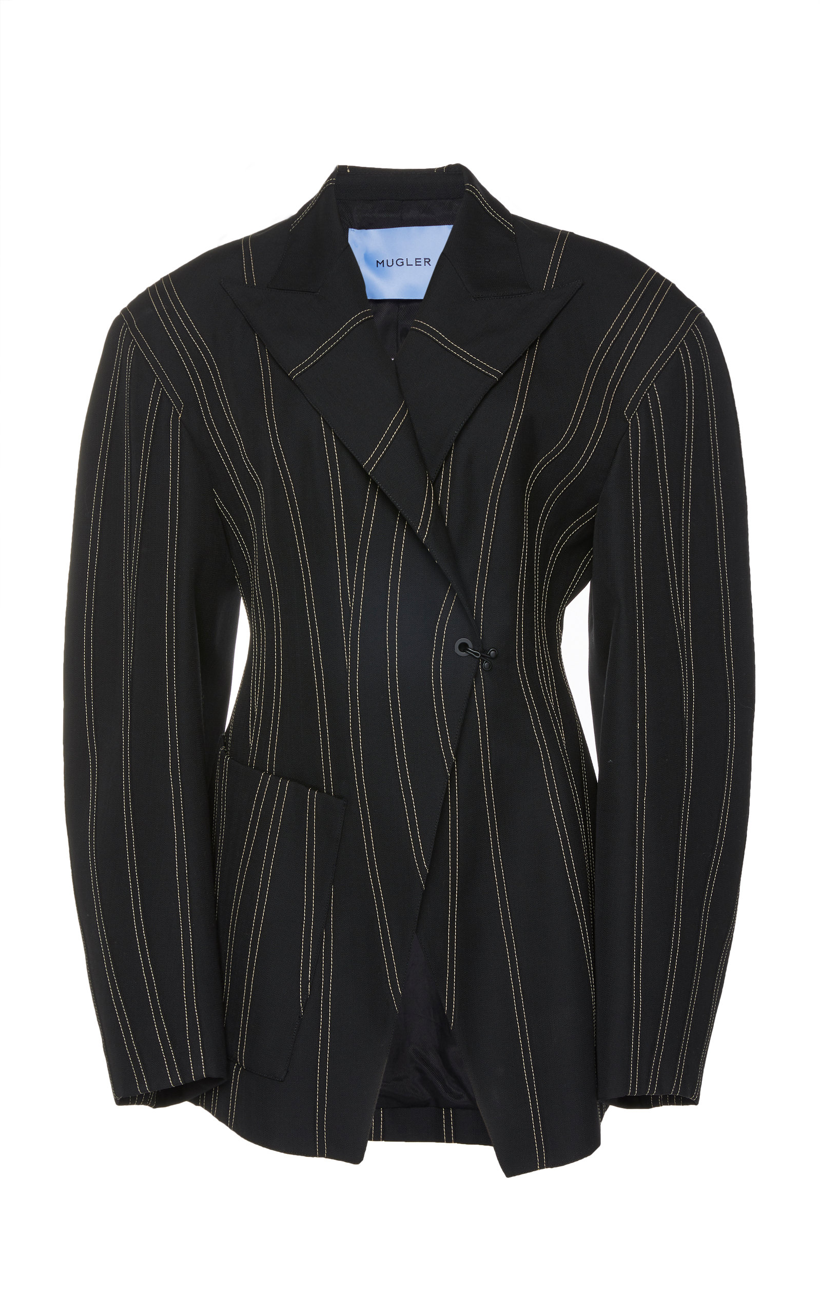 Mugler SCULPTED SPIRAL-SEAM VIRGIN WOOL JACKET