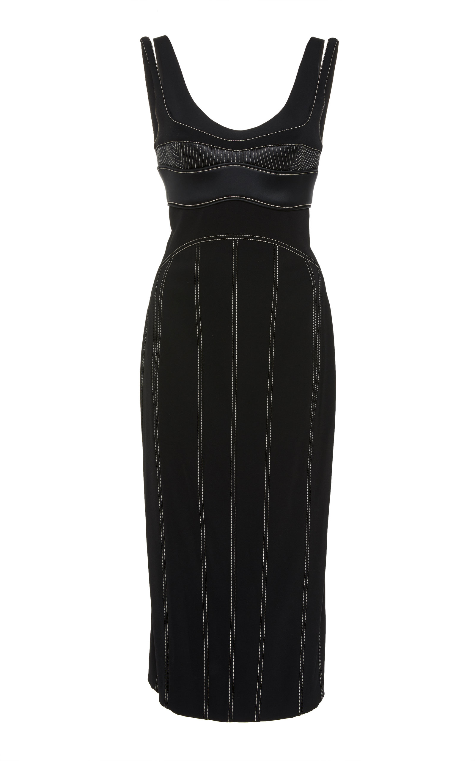 Mugler CONTRAST STITCHING CREPE BRA DRESS