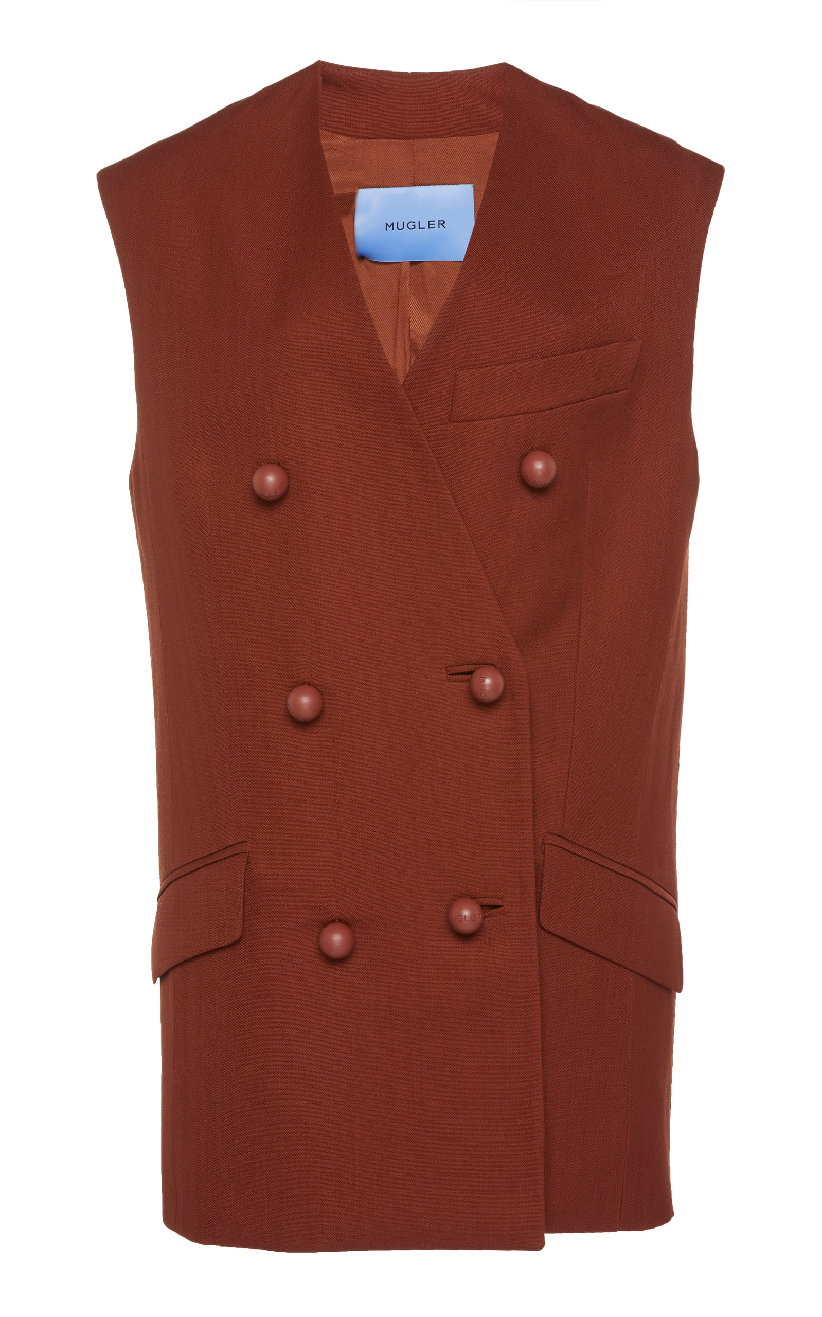 Mugler TAILORED WOOL DOUBLE-BREASTED VEST
