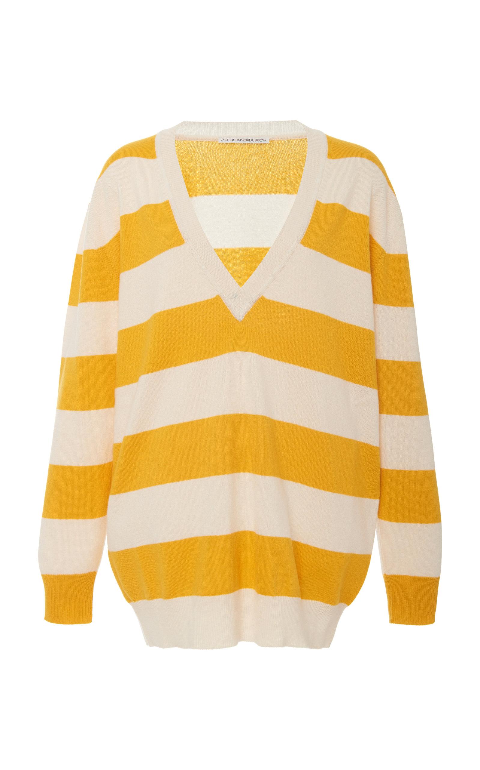 Alessandra Rich Sweaters STRIPED CASHMERE SWEATER