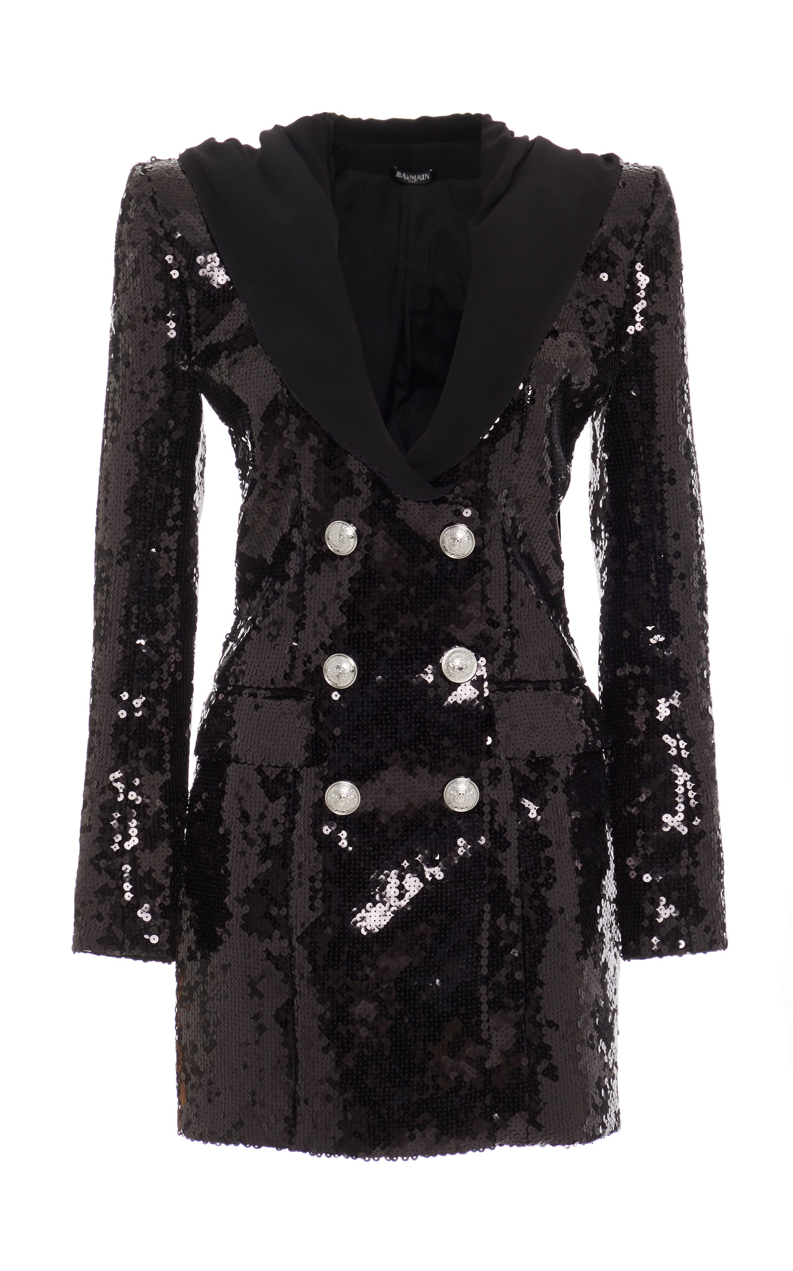 2e32612c Balmain Sequined Hooded Double-Breasted Crepe Mini Dress In Black ...