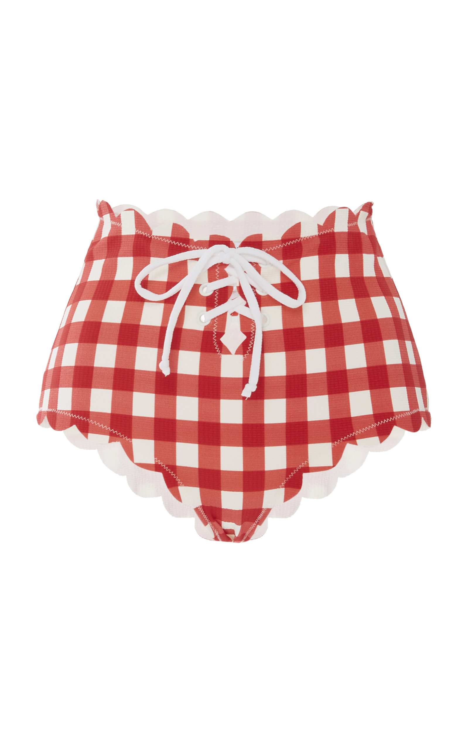 Marysia Pants RIVIERA TIE-DETAILED SCALLOPED GINGHAM BIKINI BRIEFS