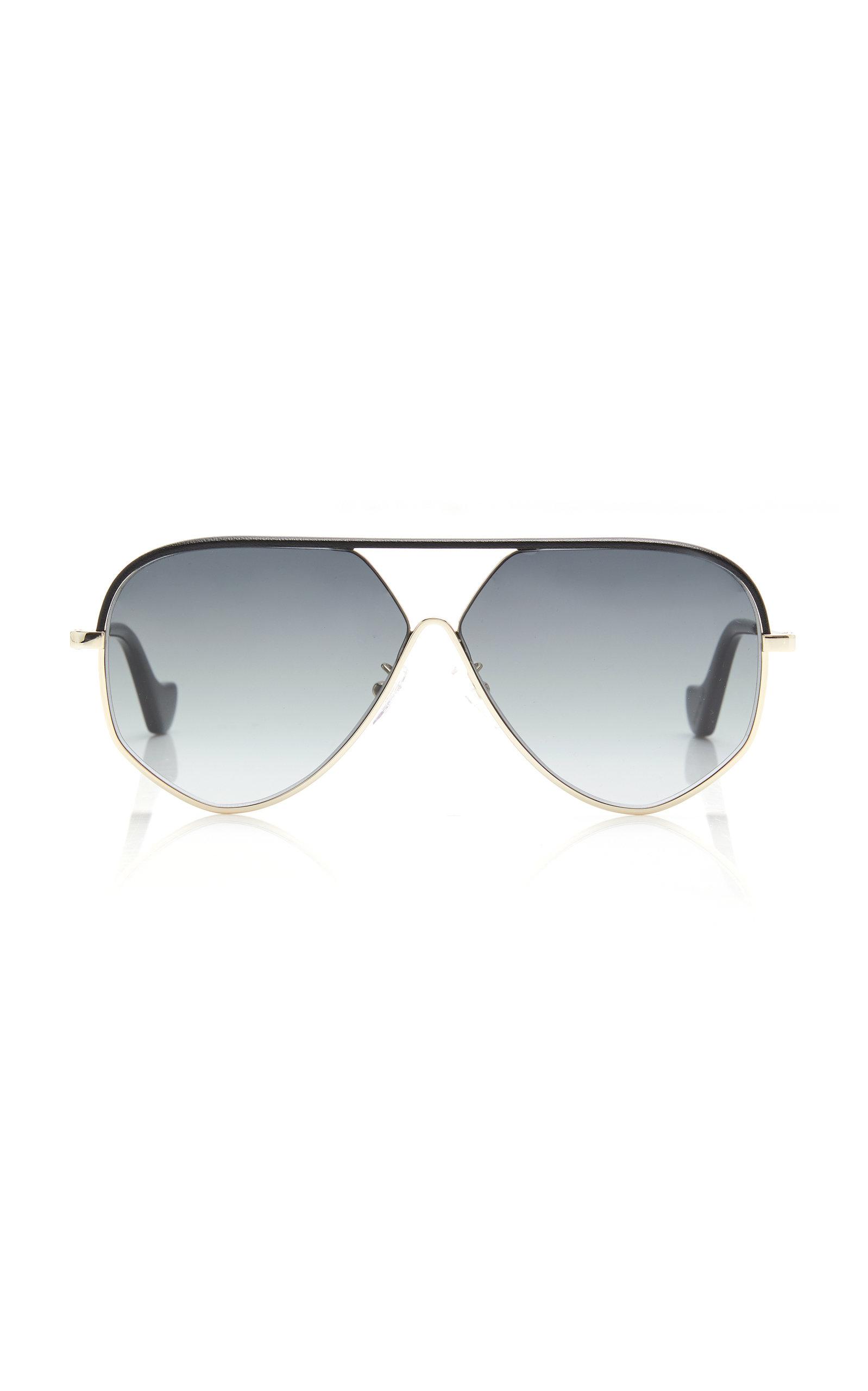 Loewe Sunglasses Aviator-Style Black Leather Sunglasses