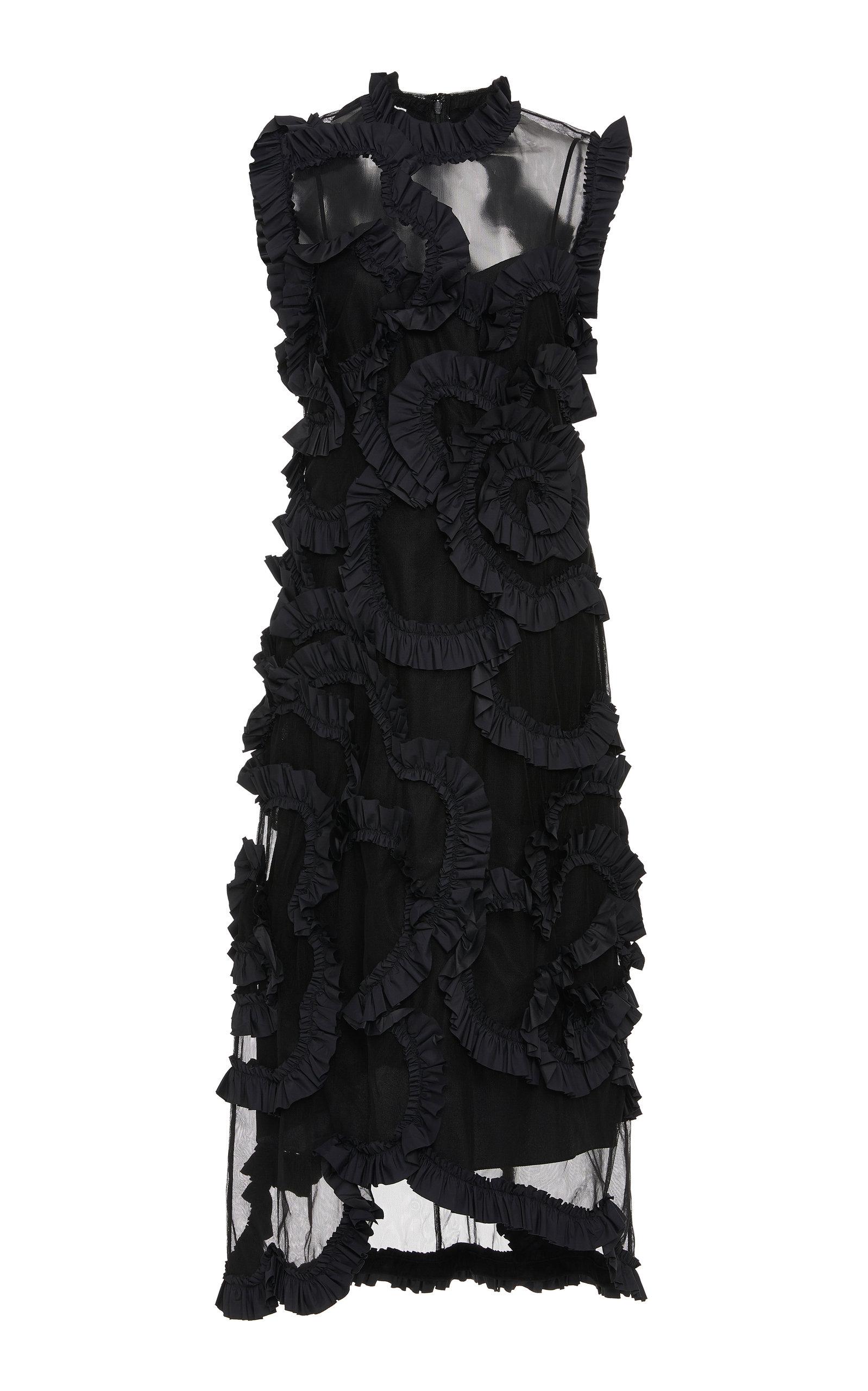 Moncler Genius Dresses + SIMONE ROCHA RUFFLED SILK-CHIFFON MIDI DRESS