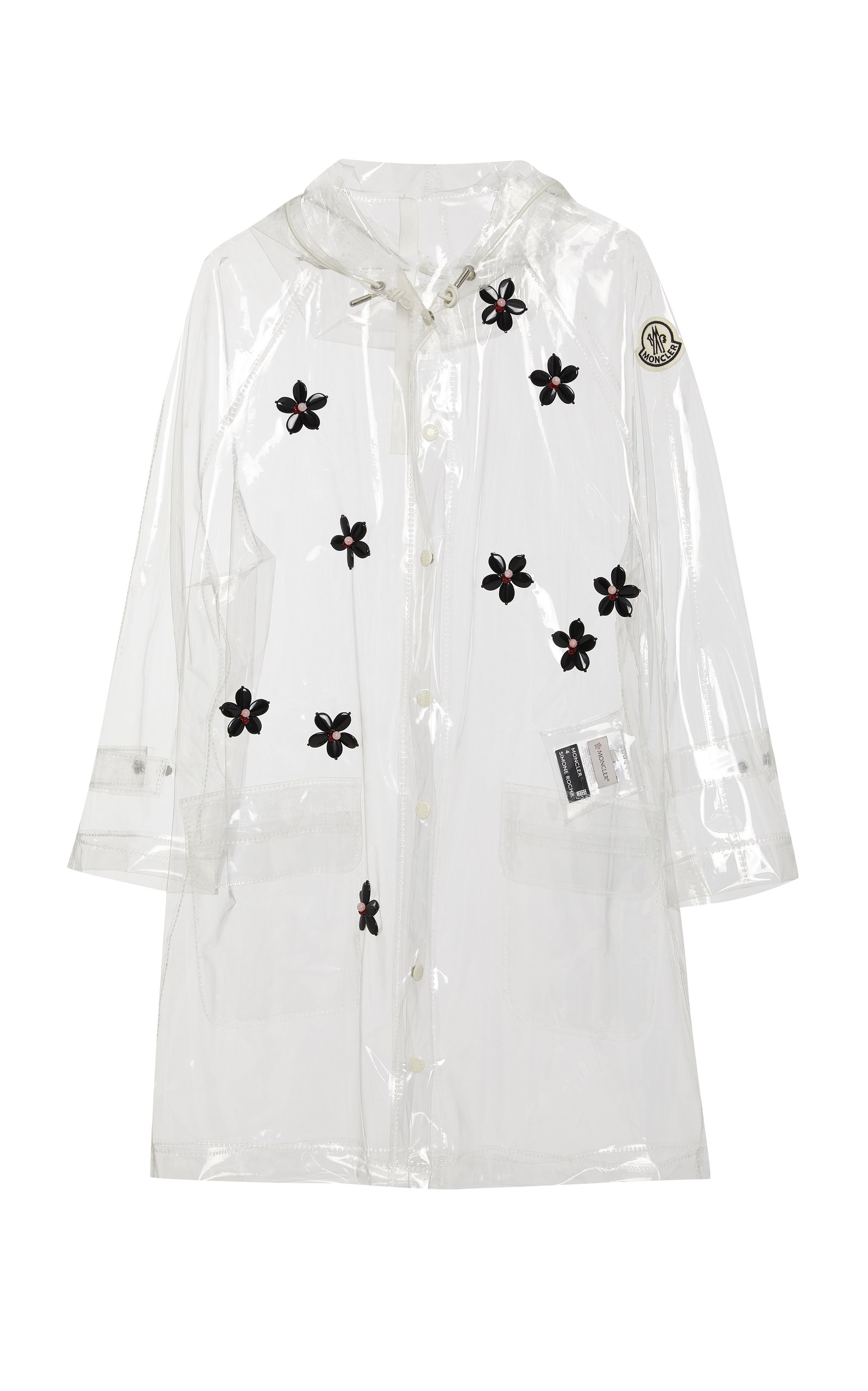 Moncler Genius Coats + SIMONE ROCHA FLORAL-APPLIQUÉD PVC HOODED RAINCOAT