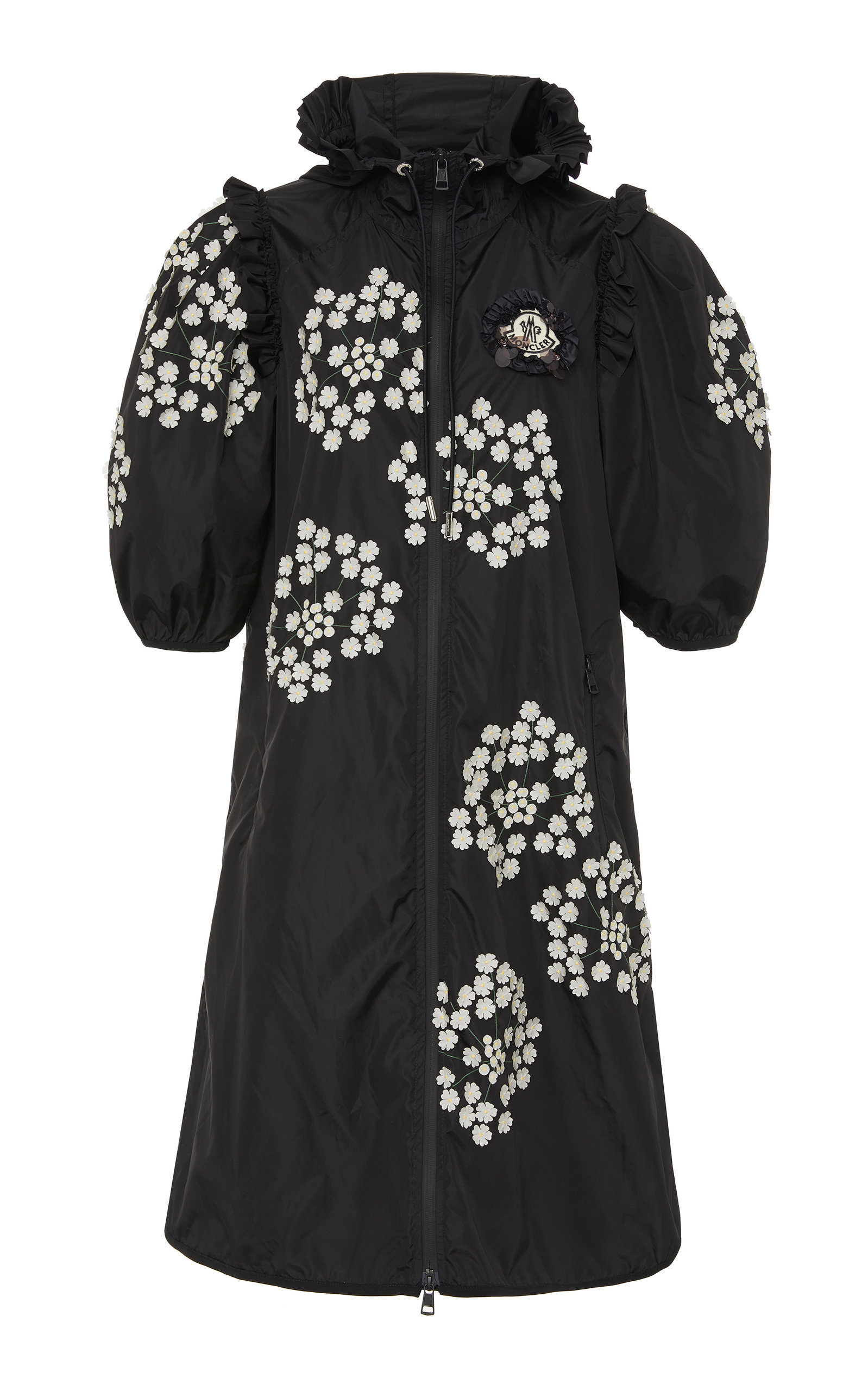 Moncler Genius Coats + SIMONE ROCHA PRIMROSE RUFFLED FLORAL-PRINT SHELL COAT