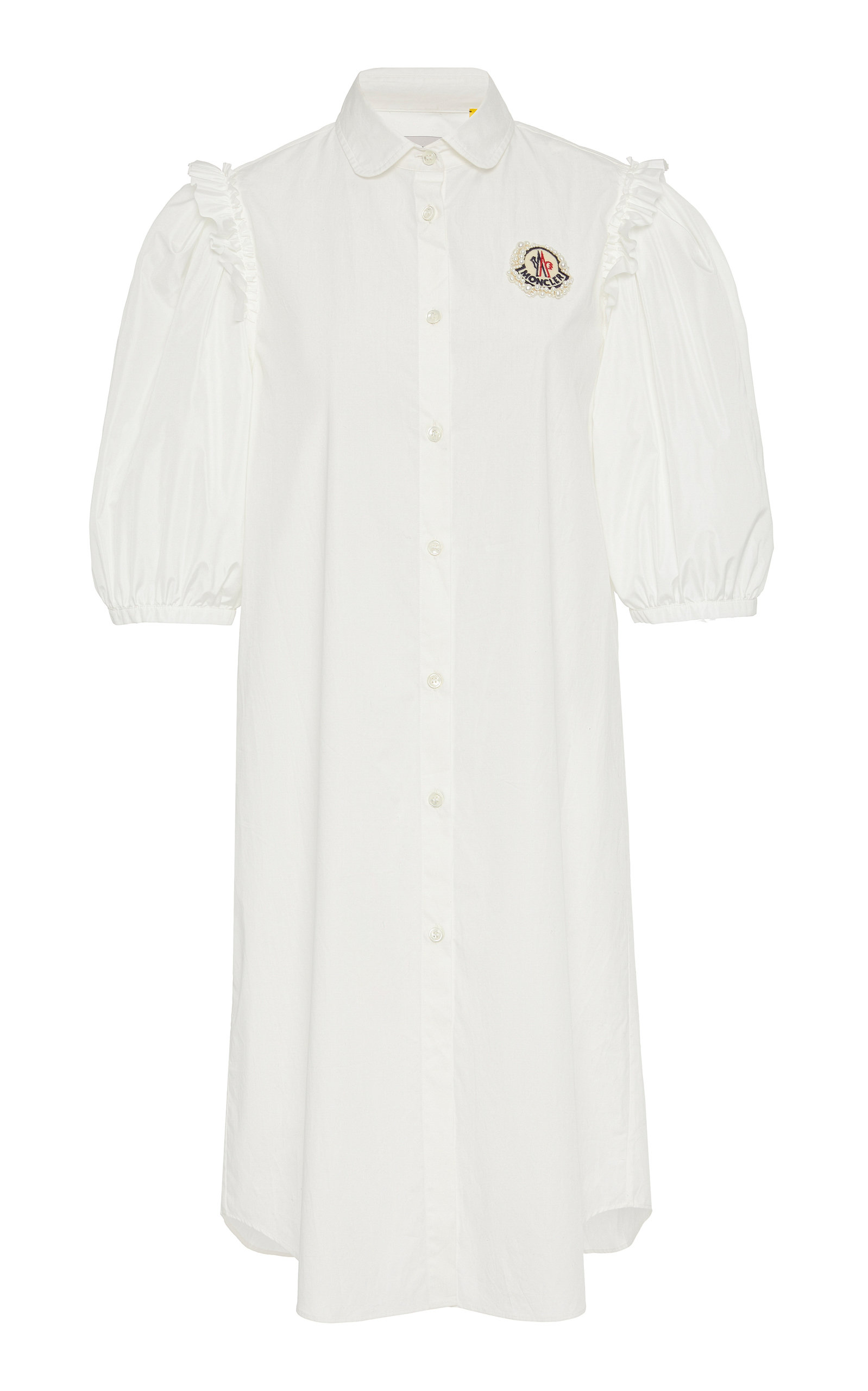 6478a520a63 Moncler Genius 4 Moncler Simone Rocha Camicia Embellished Cotton Shirt Dress  With Ruffles In White