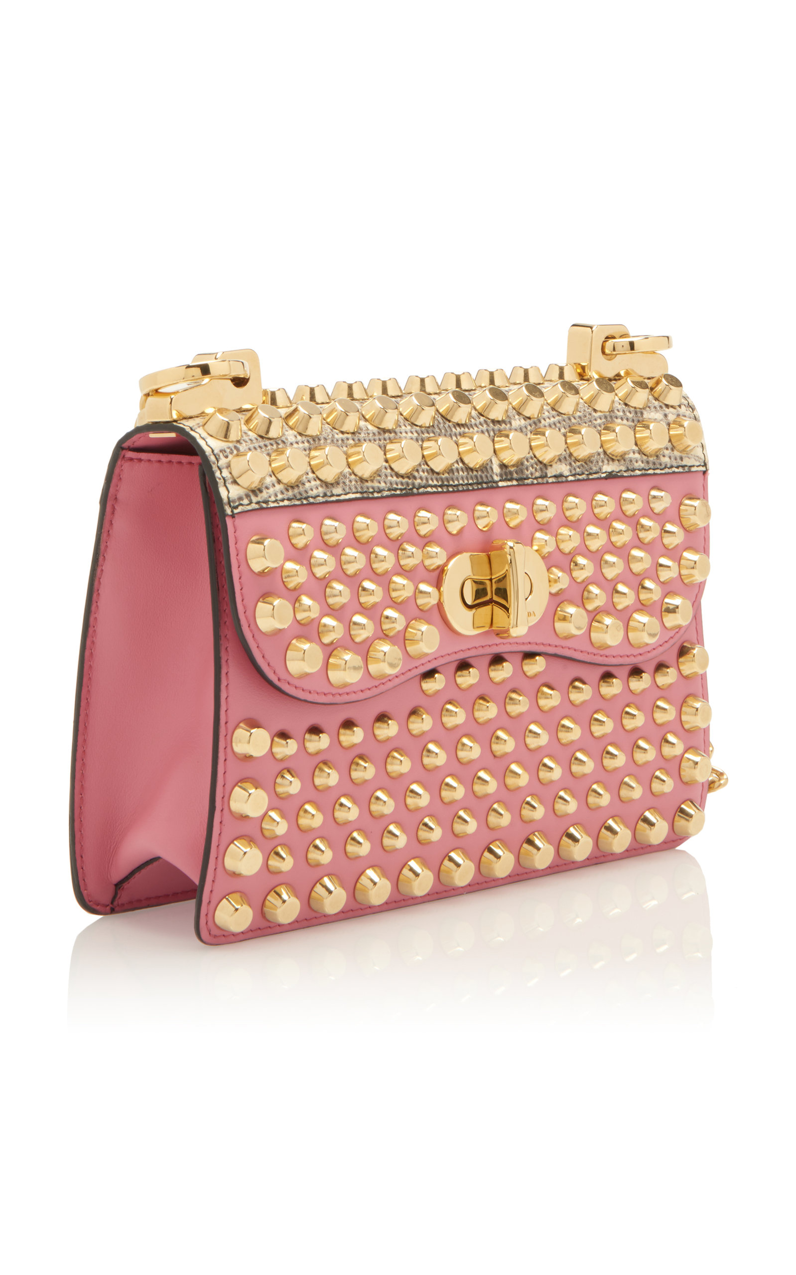 3b3322871b4f PradaStudded Lizard-Trimmed Leather Shoulder Bag. CLOSE. Loading. Loading.  Loading
