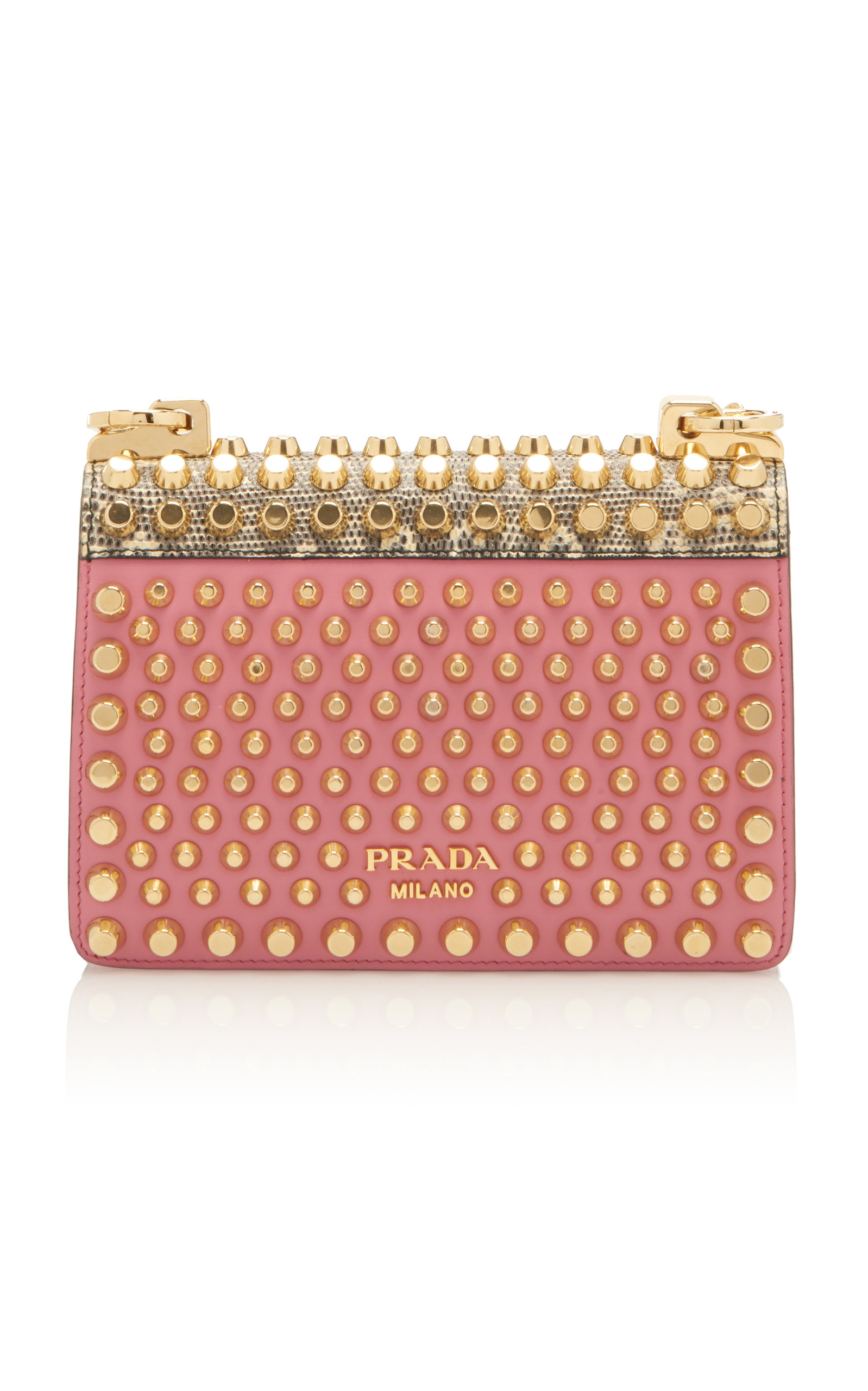 61f8128d2235 PradaStudded Lizard-Trimmed Leather Shoulder Bag. CLOSE. Loading. Loading.  Loading. Loading