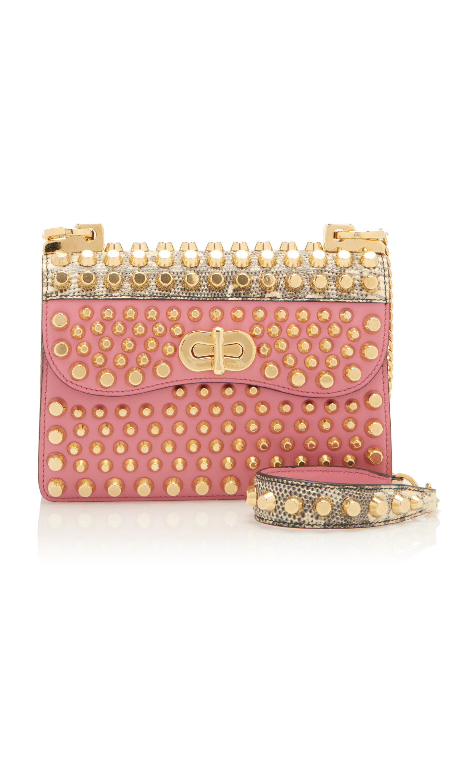966c0e79708e Studded Lizard-Trimmed Leather Shoulder Bag by Prada | Moda Operandi