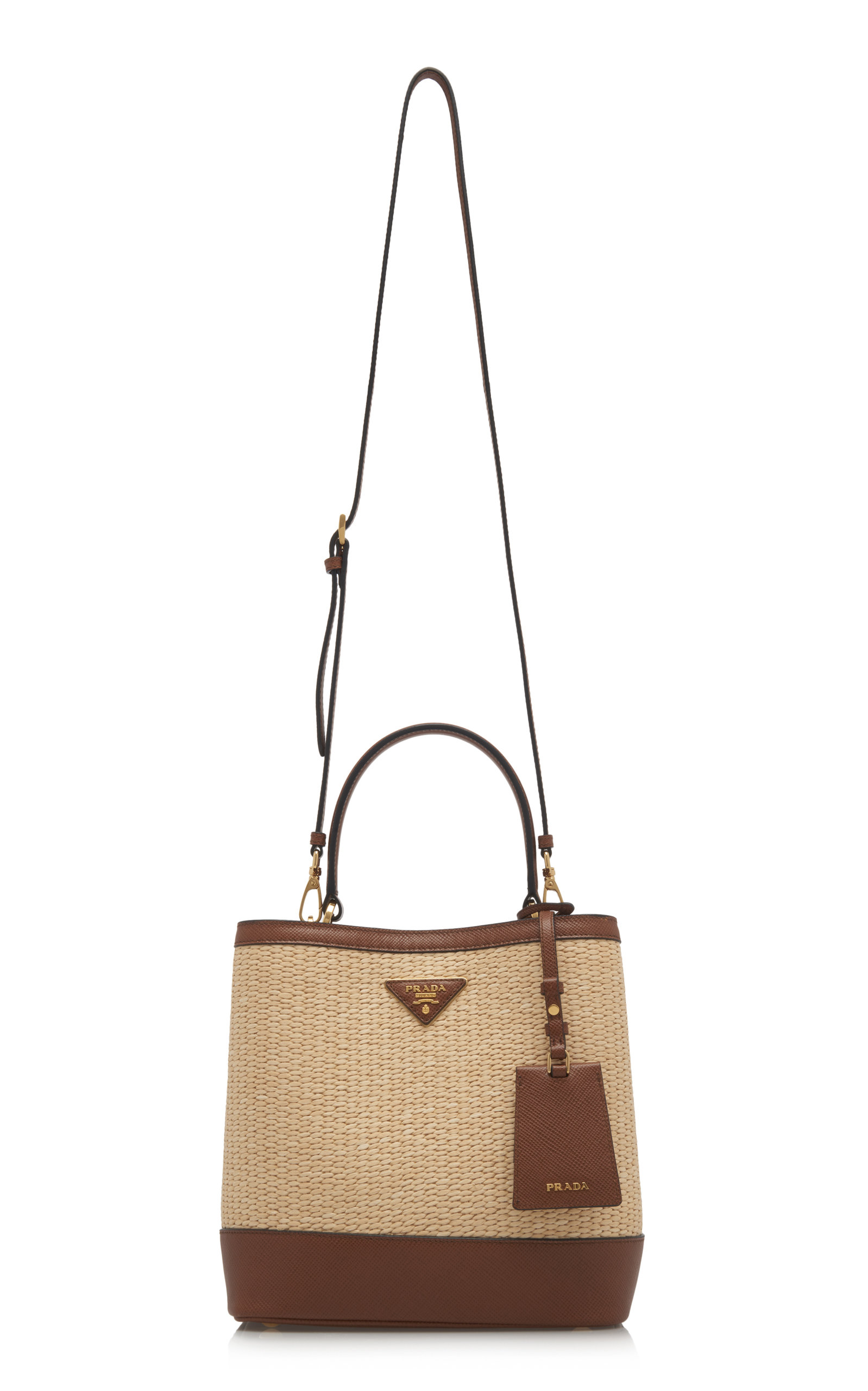 e2fadff71f8e PradaMedium Raffia and Saffiano Leather Double Bucket Bag. CLOSE. Loading.  Loading