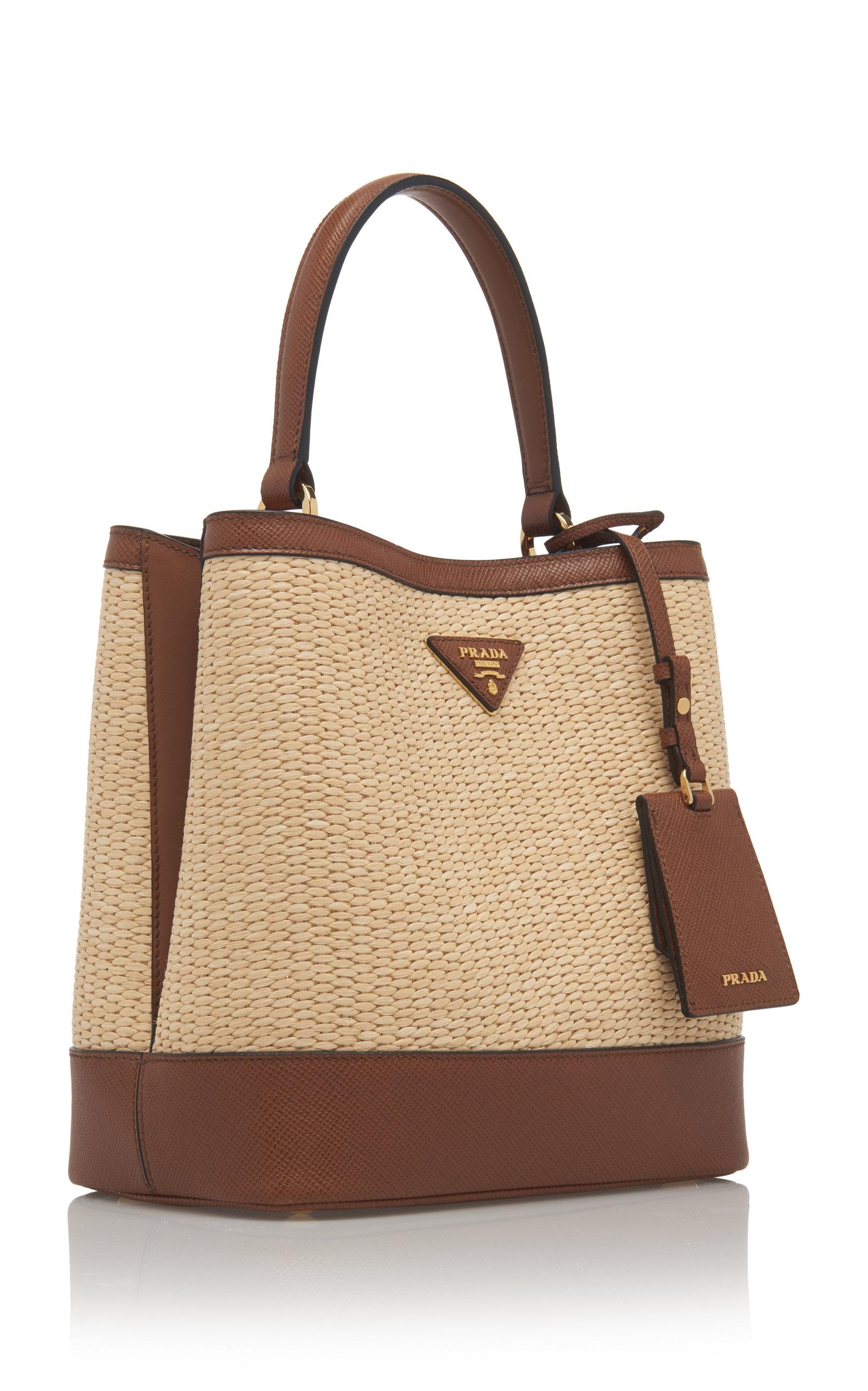 1696c1592a71 PradaMedium Raffia and Saffiano Leather Double Bucket Bag. CLOSE. Loading.  Loading. Loading