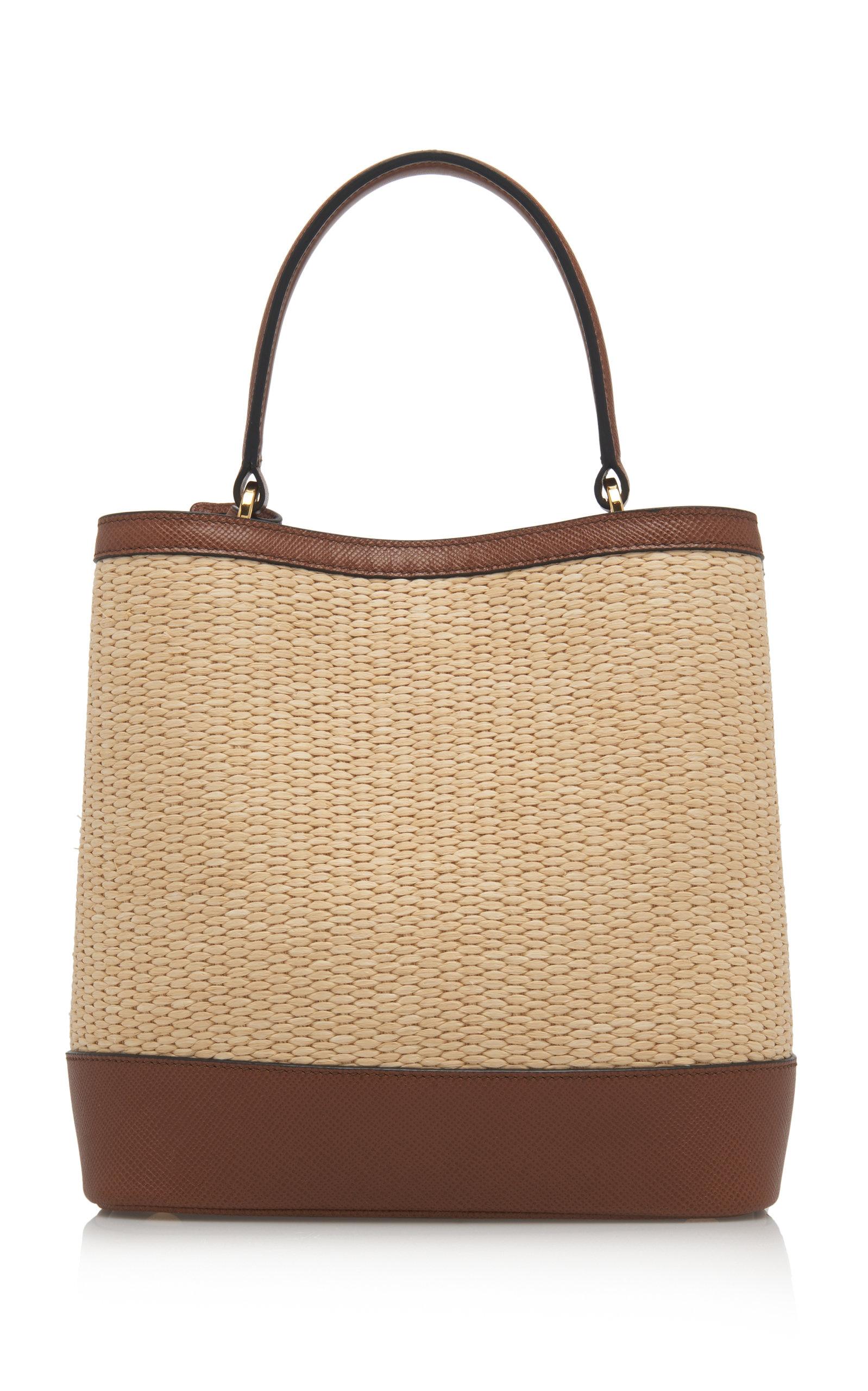 7ca98a4c36f3 Medium Raffia and Saffiano Leather Double Bucket Bag by Prada   Moda ...