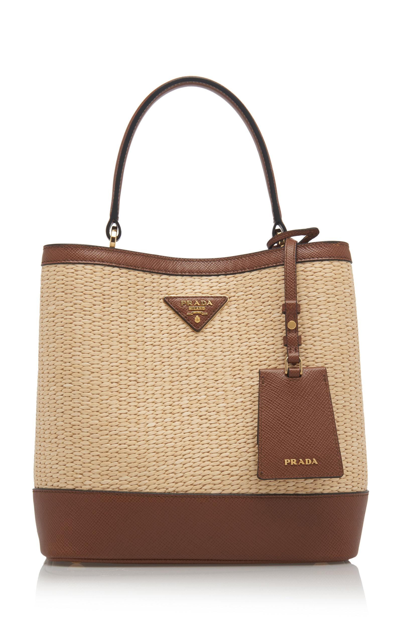 30be04d0e26a PradaMedium Raffia and Saffiano Leather Double Bucket Bag. CLOSE. Loading