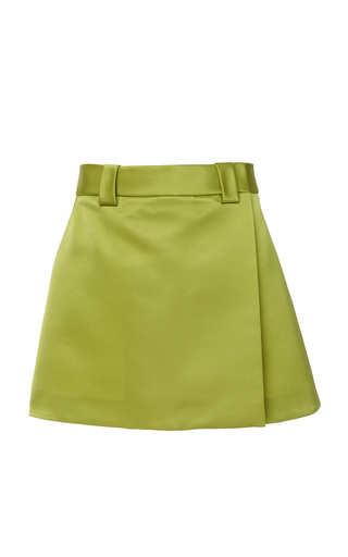 PRADA | Prada Satin Wrap-Effect Mini Skirt | Goxip