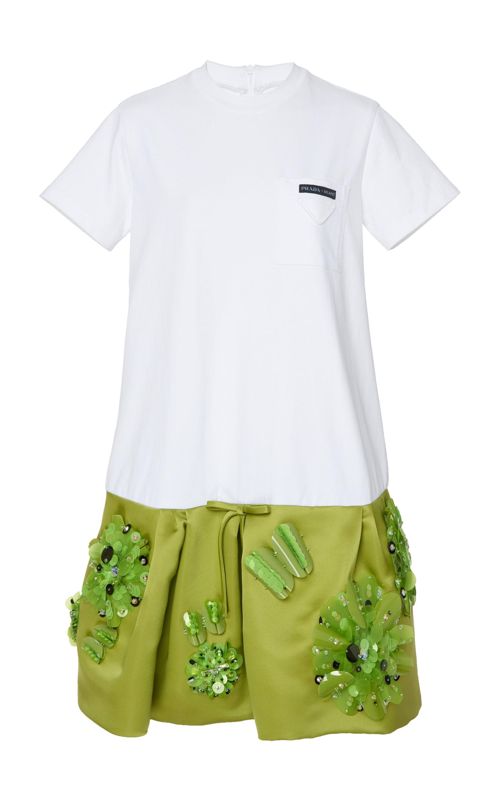 0d5964f9a Drop-Waist Embellished T-Shirt Dress by Prada