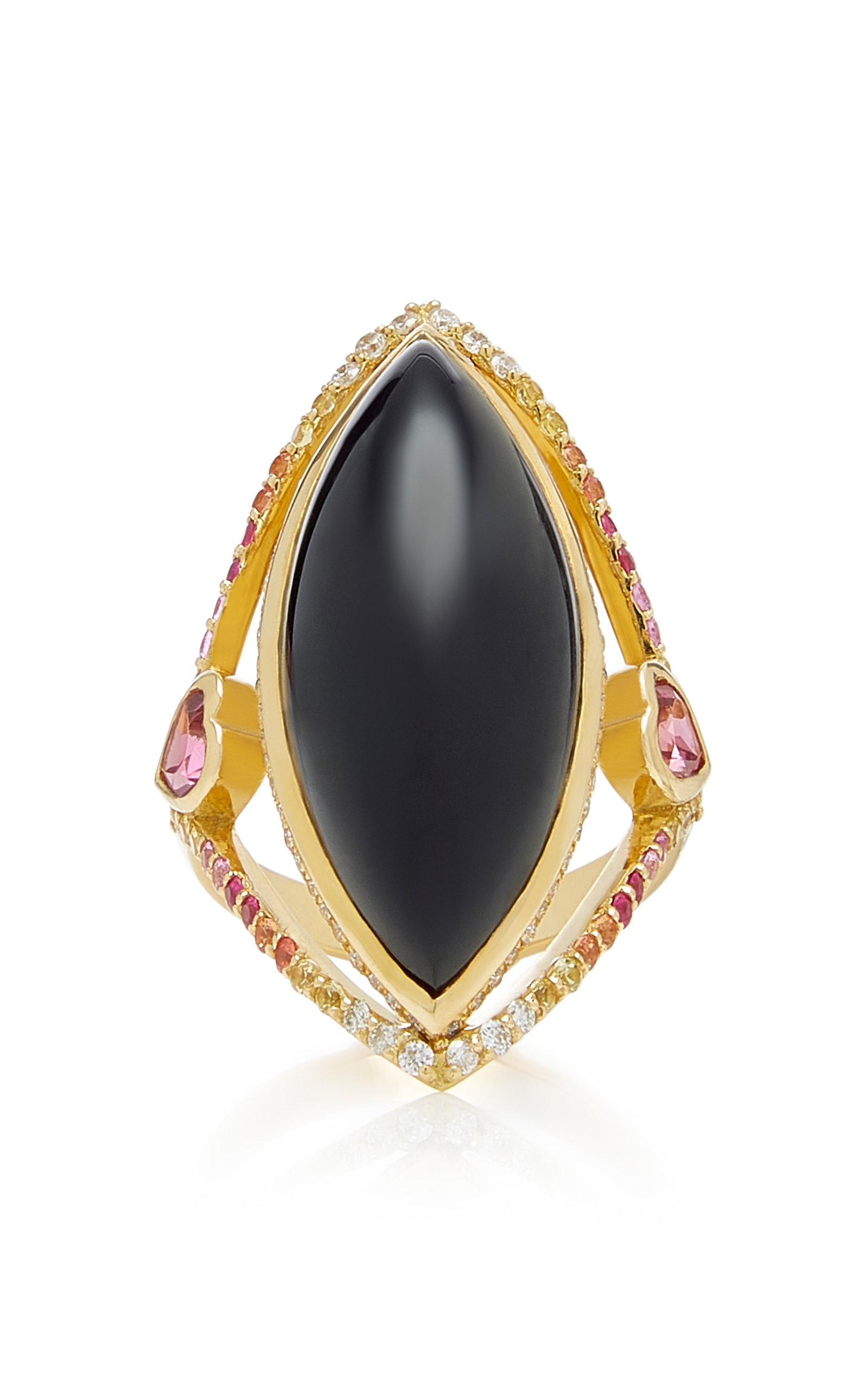 ELE KARELA Black Marquise 18K Gold Sapphire Diamond And Onyx Ring