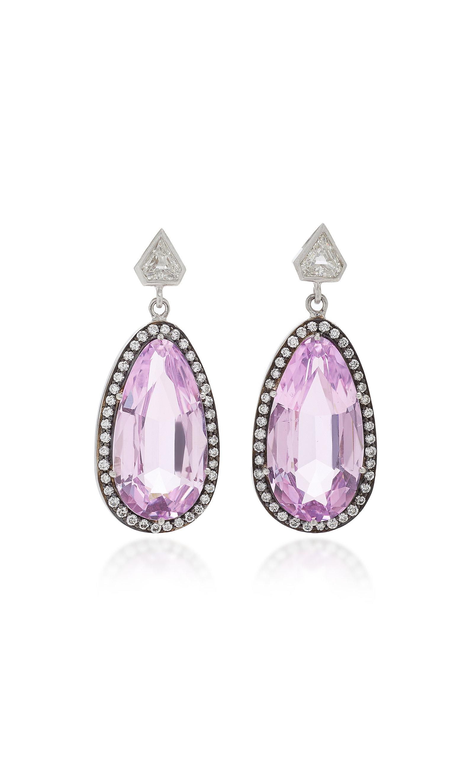 SYLVA & CIE 18K White Gold Kunzite And Diamond Earrings in Purple