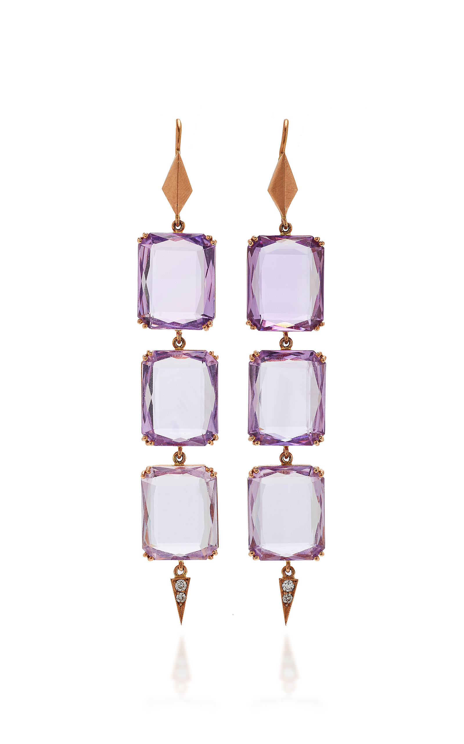 SYLVA & CIE 14K Rose Gold Amethyst And Diamond Drop Earrings in Purple