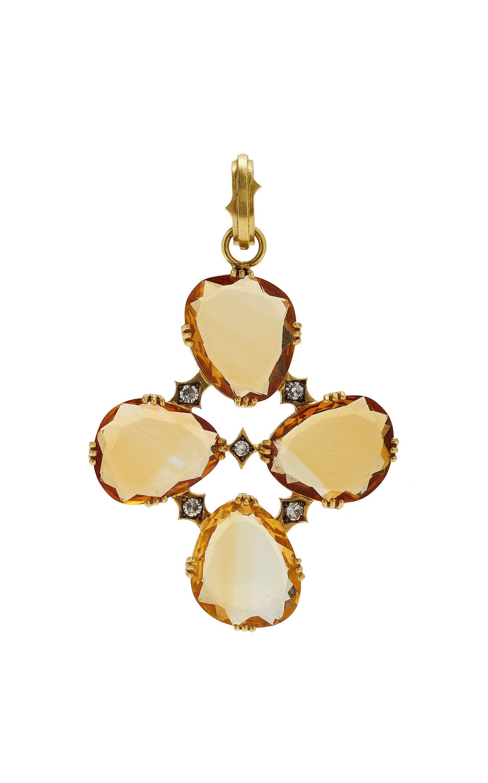 SYLVA & CIE 18K Gold Citrine And Diamond Charm in Yellow
