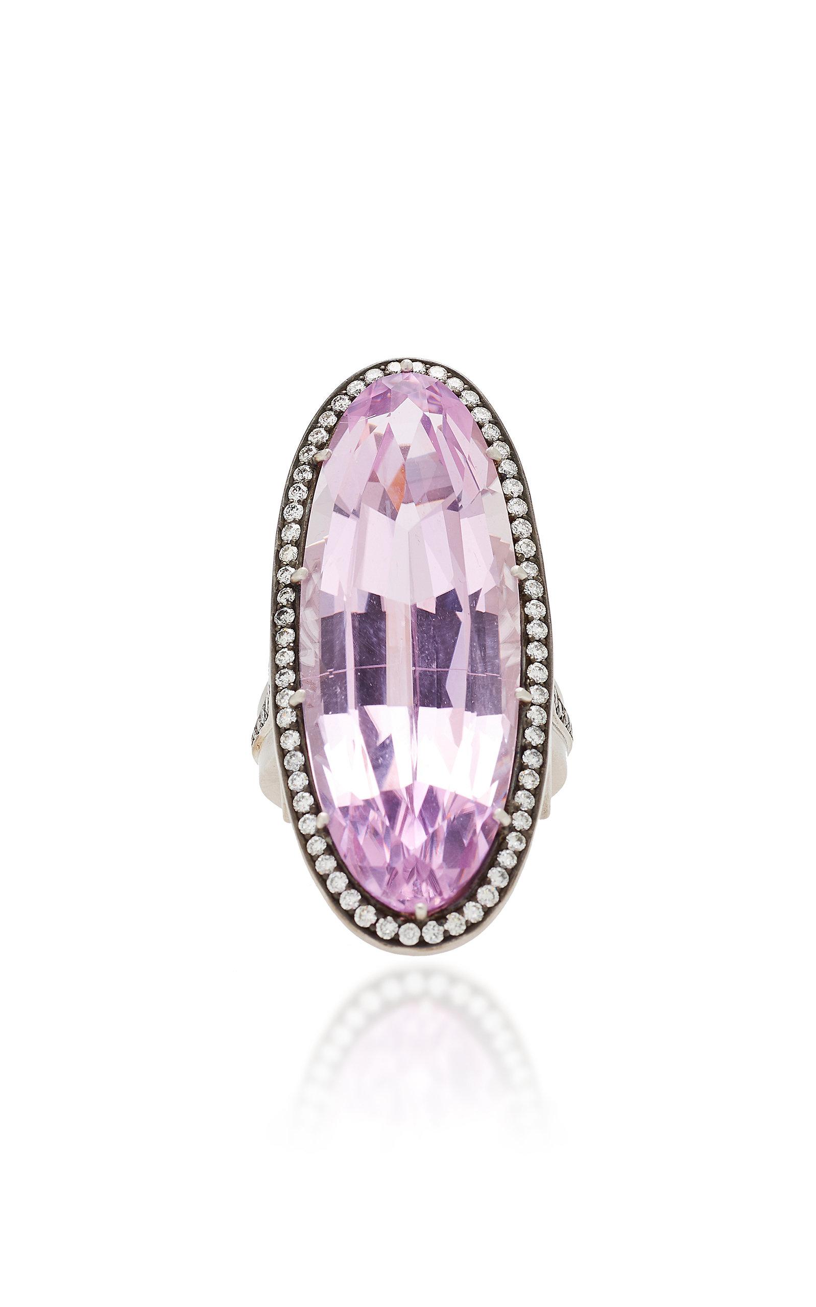 SYLVA & CIE 18K White Gold Kunzite And Diamond Ring in Purple