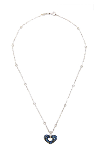 GIOIA | Gioia 18K White Gold Platinum Sapphire and Diamond Necklace | Goxip