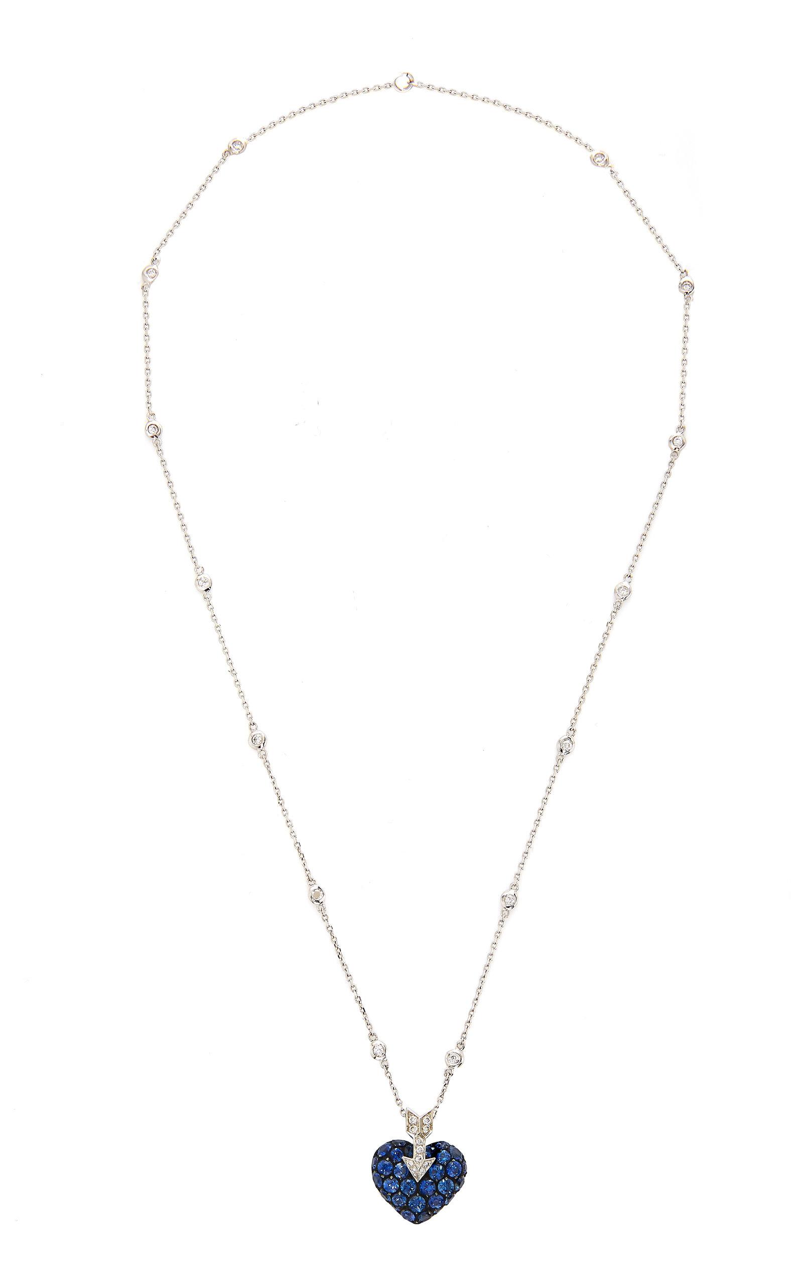 GIOIA | Gioia 18K White Gold Platinum Sapphire And Diamond Necklace | Goxip
