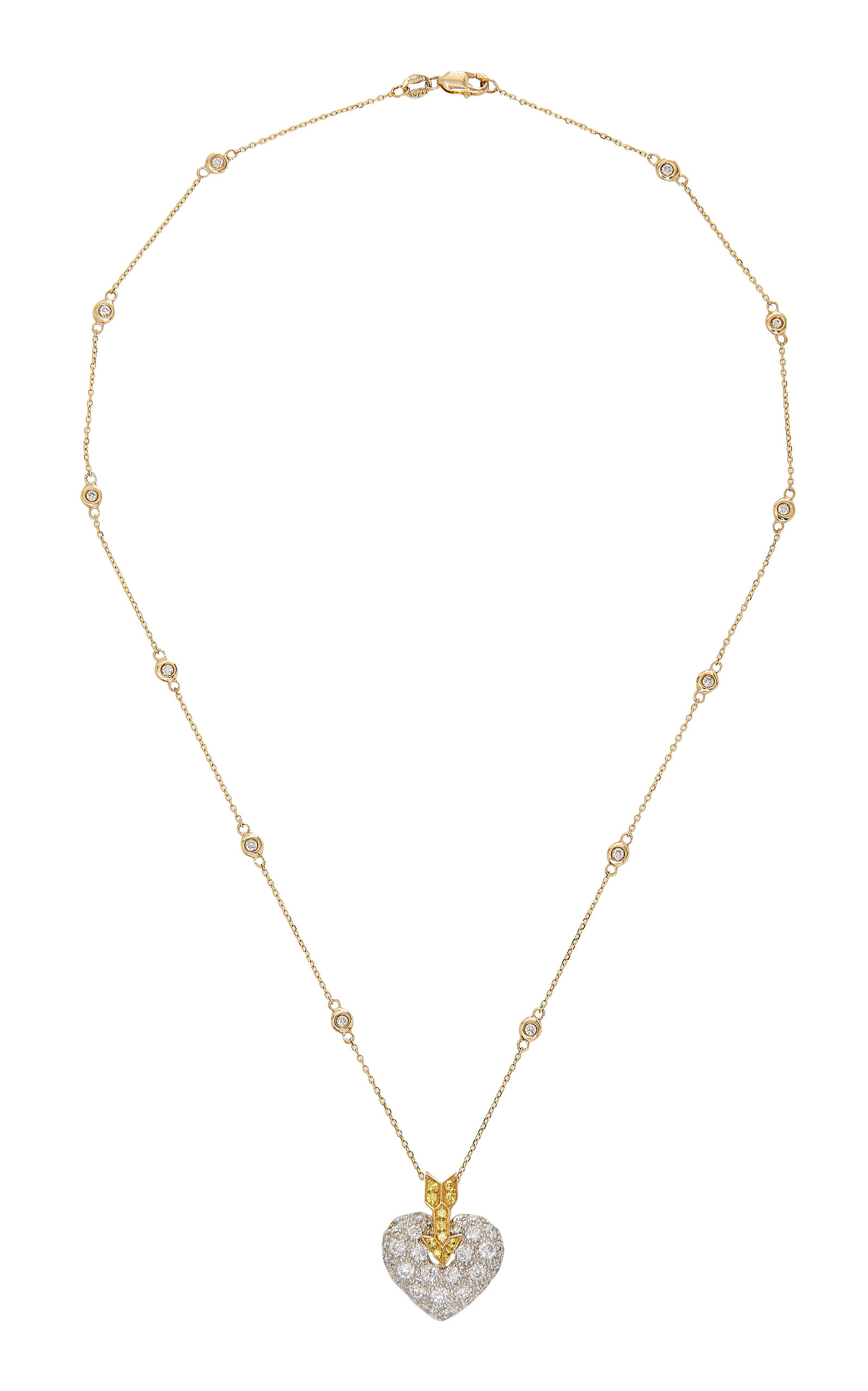GIOIA | Gioia 18K Gold Platinum Diamond And Sapphire Necklace | Goxip