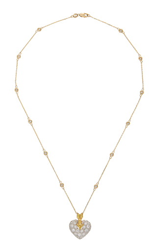 GIOIA | Gioia 18K Gold Platinum Diamond and Sapphire Necklace | Goxip