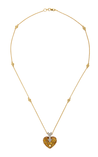 GIOIA | Gioia 18K Gold Platinum Sapphire and Diamond Necklace | Goxip