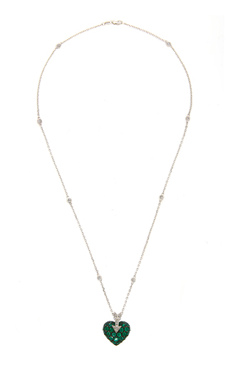 GIOIA | Gioia 18K White Gold Platinum Emerald and Diamond Necklace | Goxip