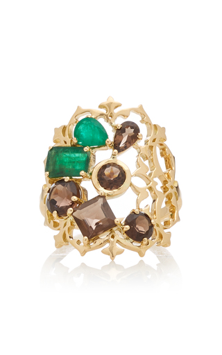 DONNA HOURANI   Donna Hourani Harmony 18K Gold Quartz And Emerald Ring   Goxip