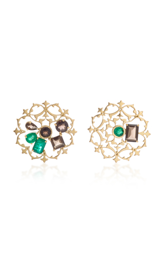 DONNA HOURANI   Donna Hourani Tranquility Mismatched 18K Gold Quartz and Emerald Earrings   Goxip