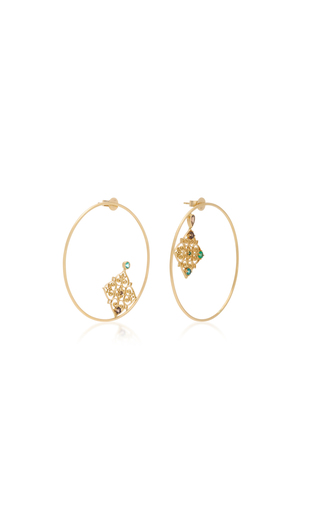 DONNA HOURANI   Donna Hourani Hope 18K Gold Quartz and Emerald Earrings   Goxip