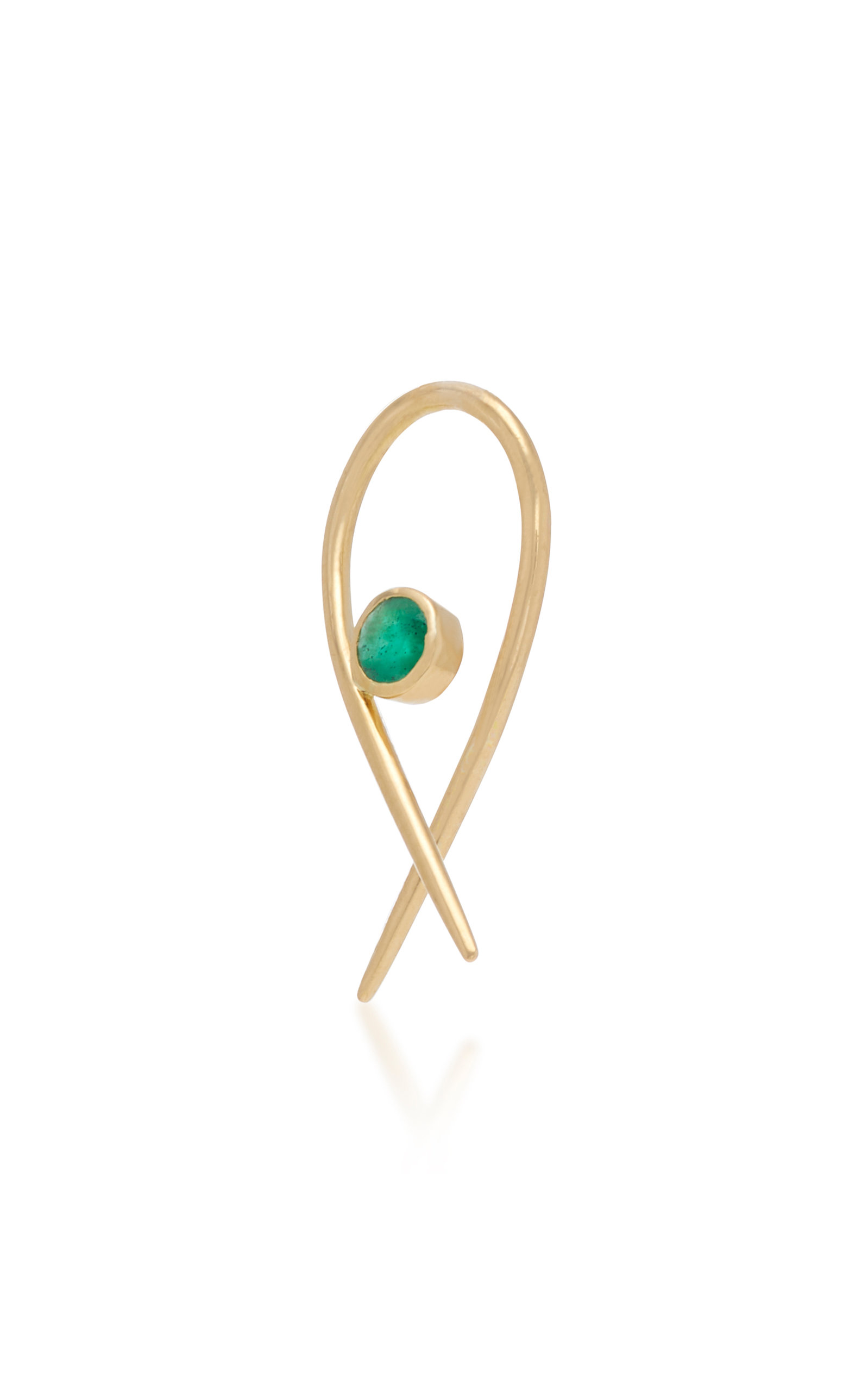 DONNA HOURANI Safety 18K Gold And Emerald Earring