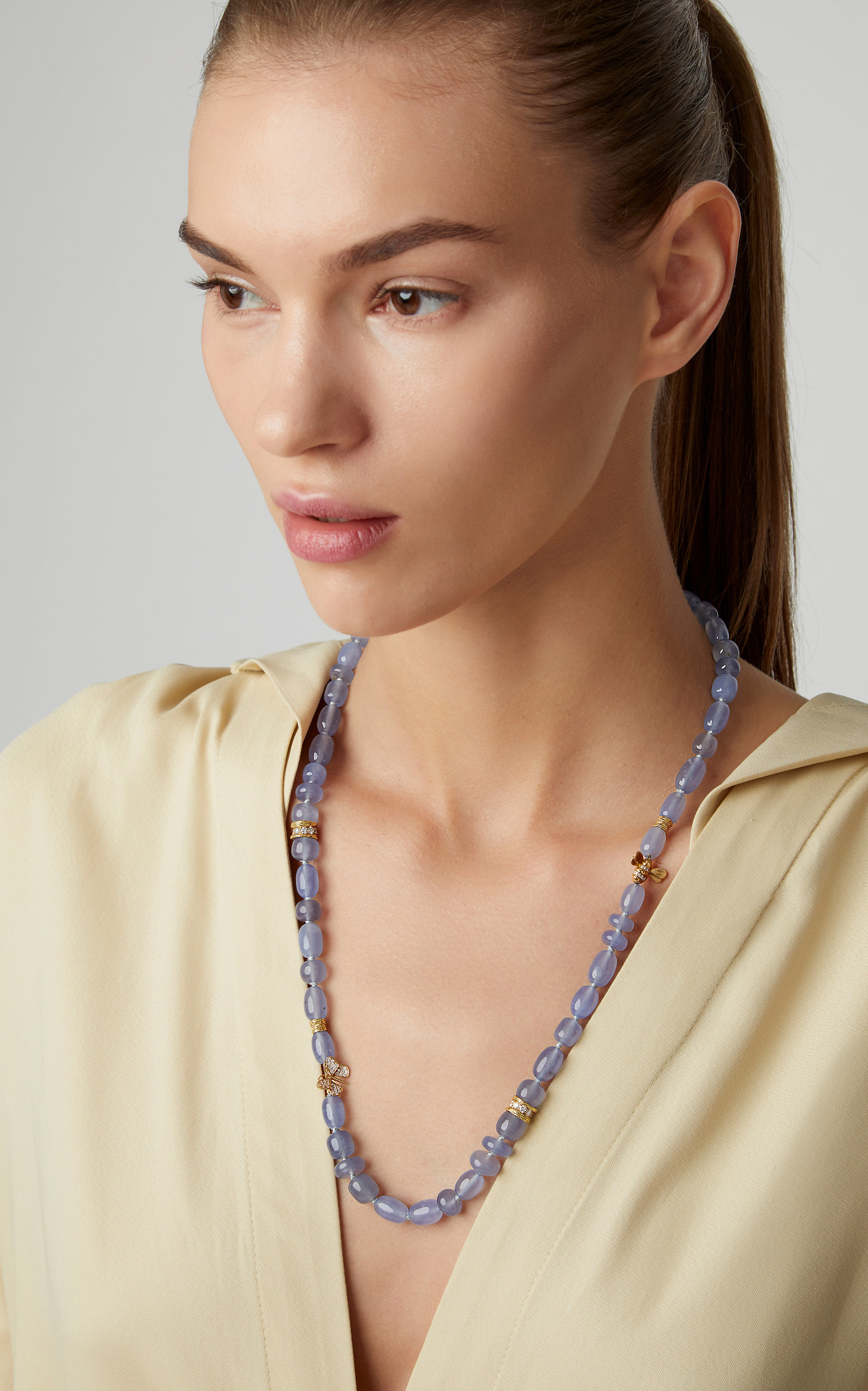 MIMI SO 18K Gold Chalcedony And Diamond Necklace in Blue