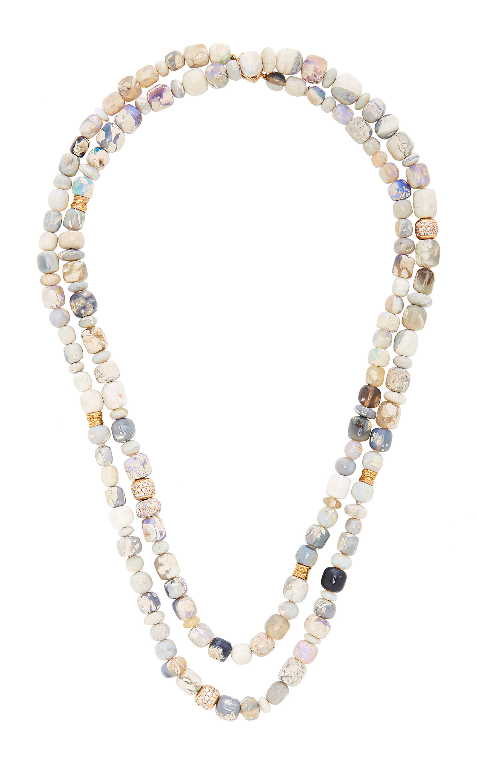 MIMI SO Layered 18K Rose Gold Opal And Diamond Necklace in Multi