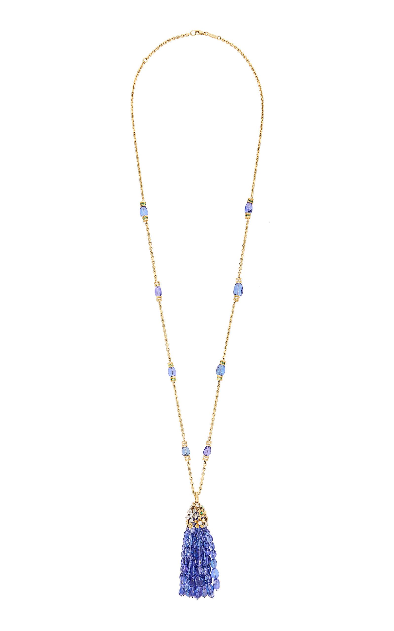 MIMI SO 18K Gold Tanzanite Diamond And Emerald Necklace in Blue