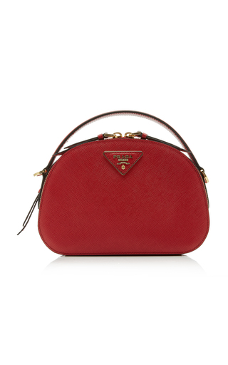 Prada Bandoliera Textured-Leather Shoulder Bag In Red