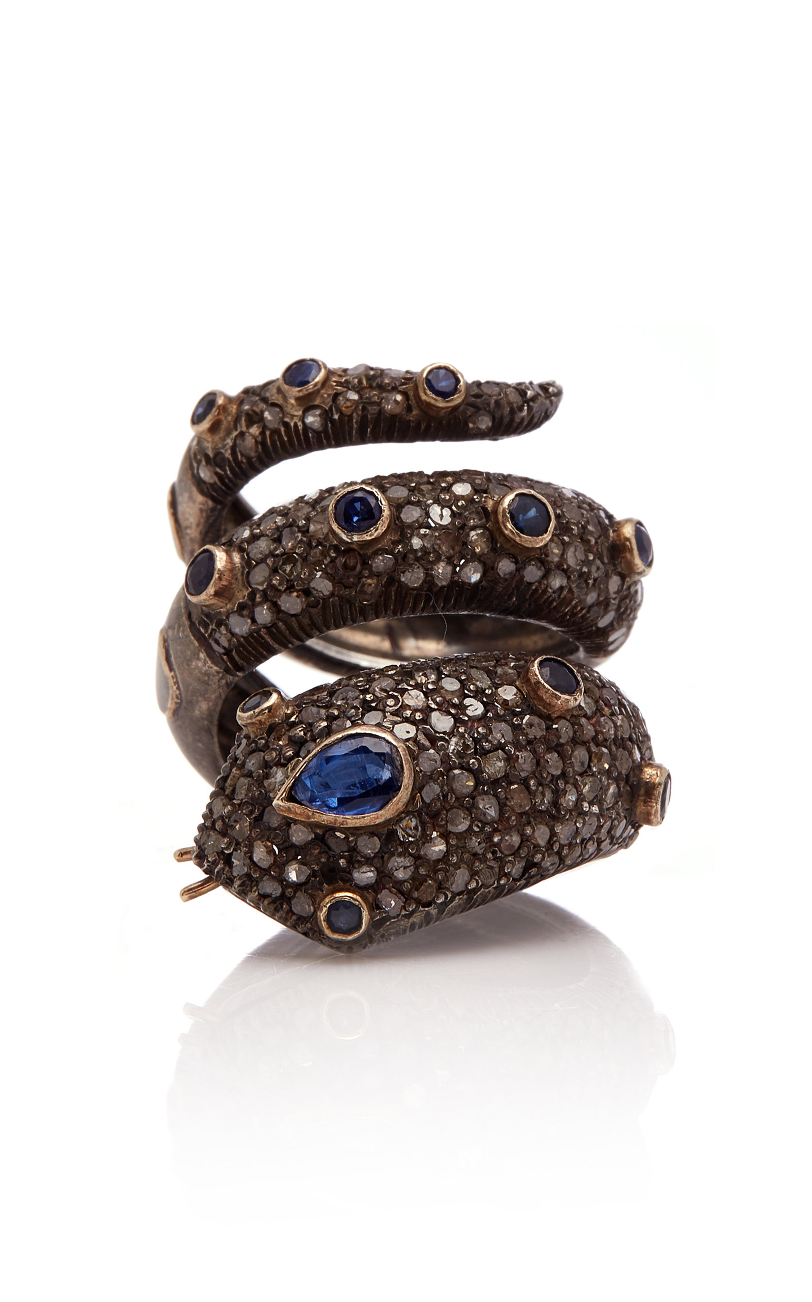 SANJAY KASLIWAL 14K Gold Silver Sapphire And Diamond Ring in Black