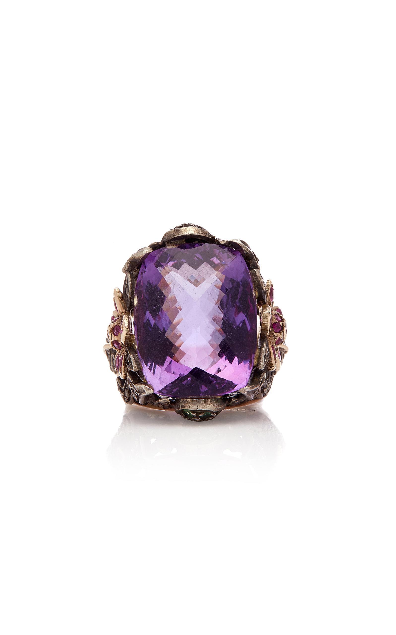 SANJAY KASLIWAL 14K Gold Silver Amethyst And Diamond Ring in Purple