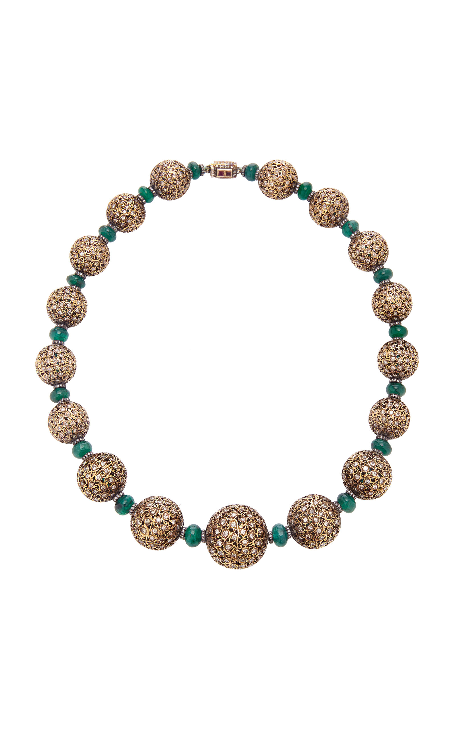 SANJAY KASLIWAL 18K Gold Emerald And Diamond Necklace