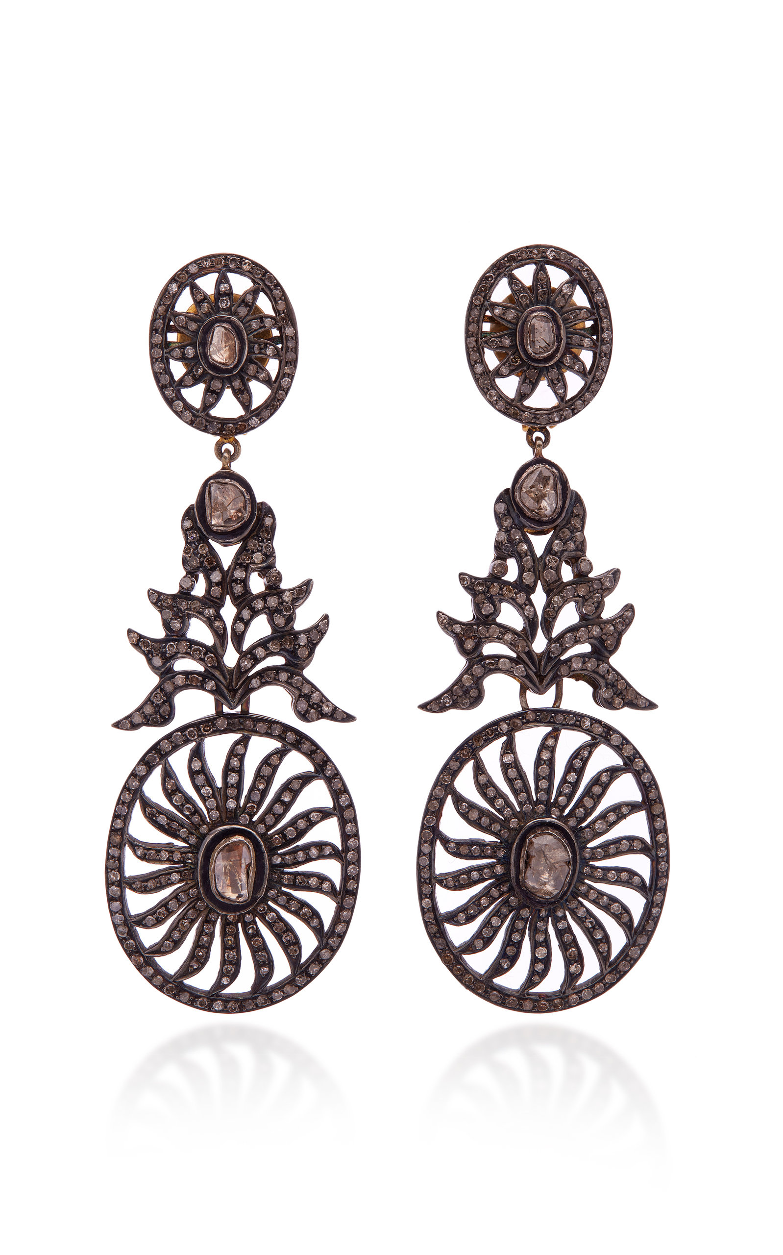 SANJAY KASLIWAL Oxidized Gold Diamond Earrings in Black