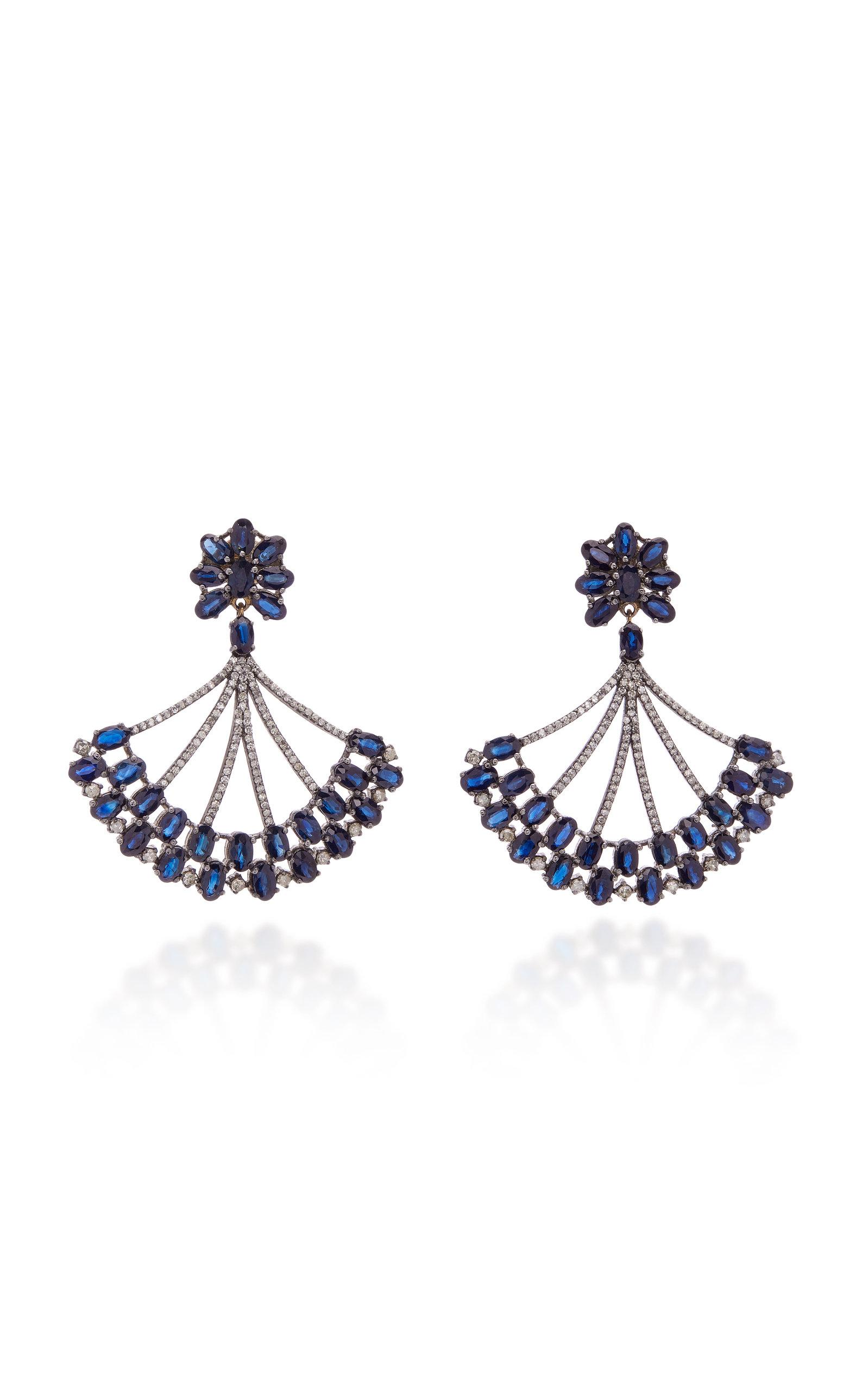 SANJAY KASLIWAL 14K Gold Silver Sapphire And Diamond Earrings in Blue