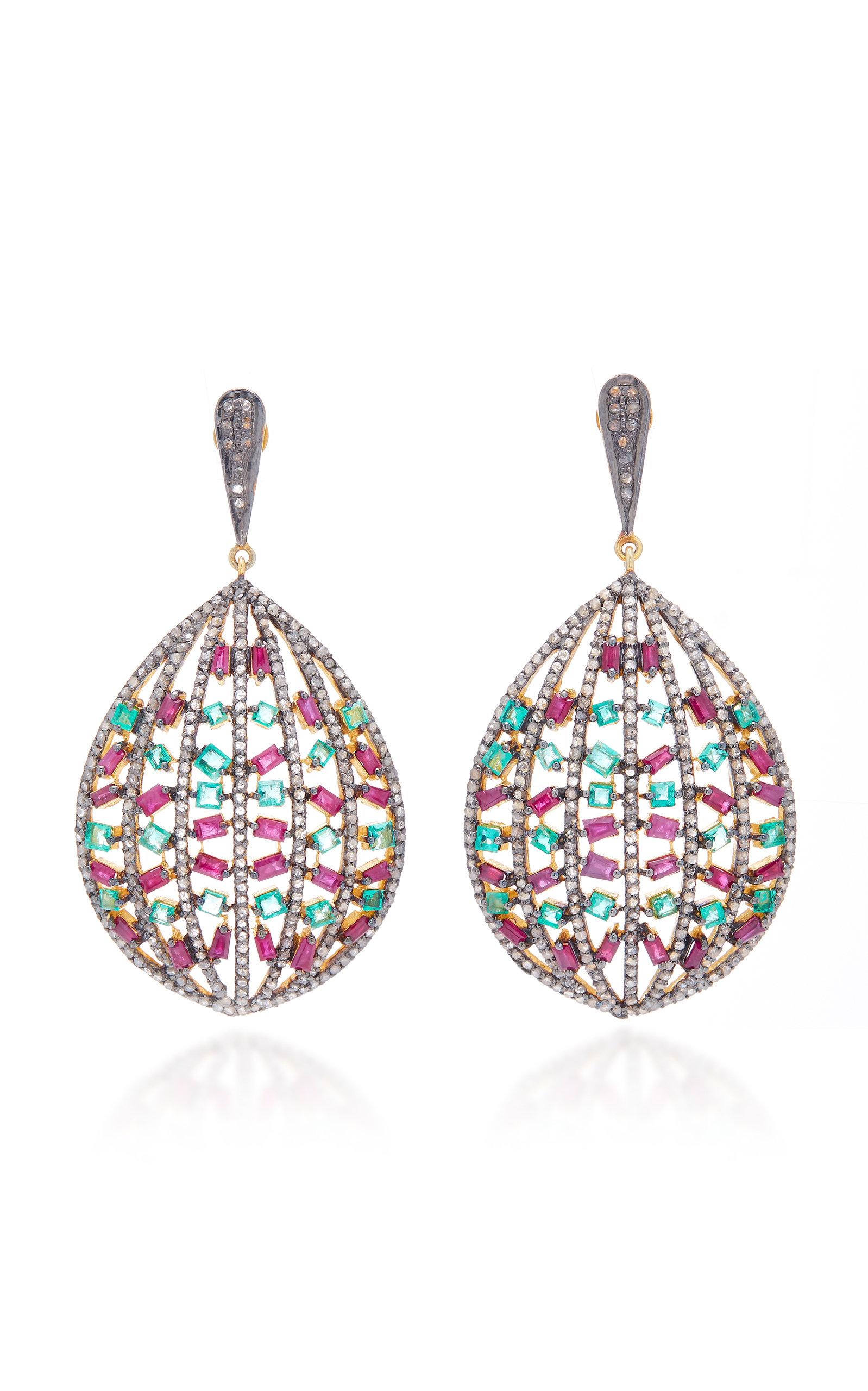 SANJAY KASLIWAL 14K Gold Silver And Multi-Stone Earrings